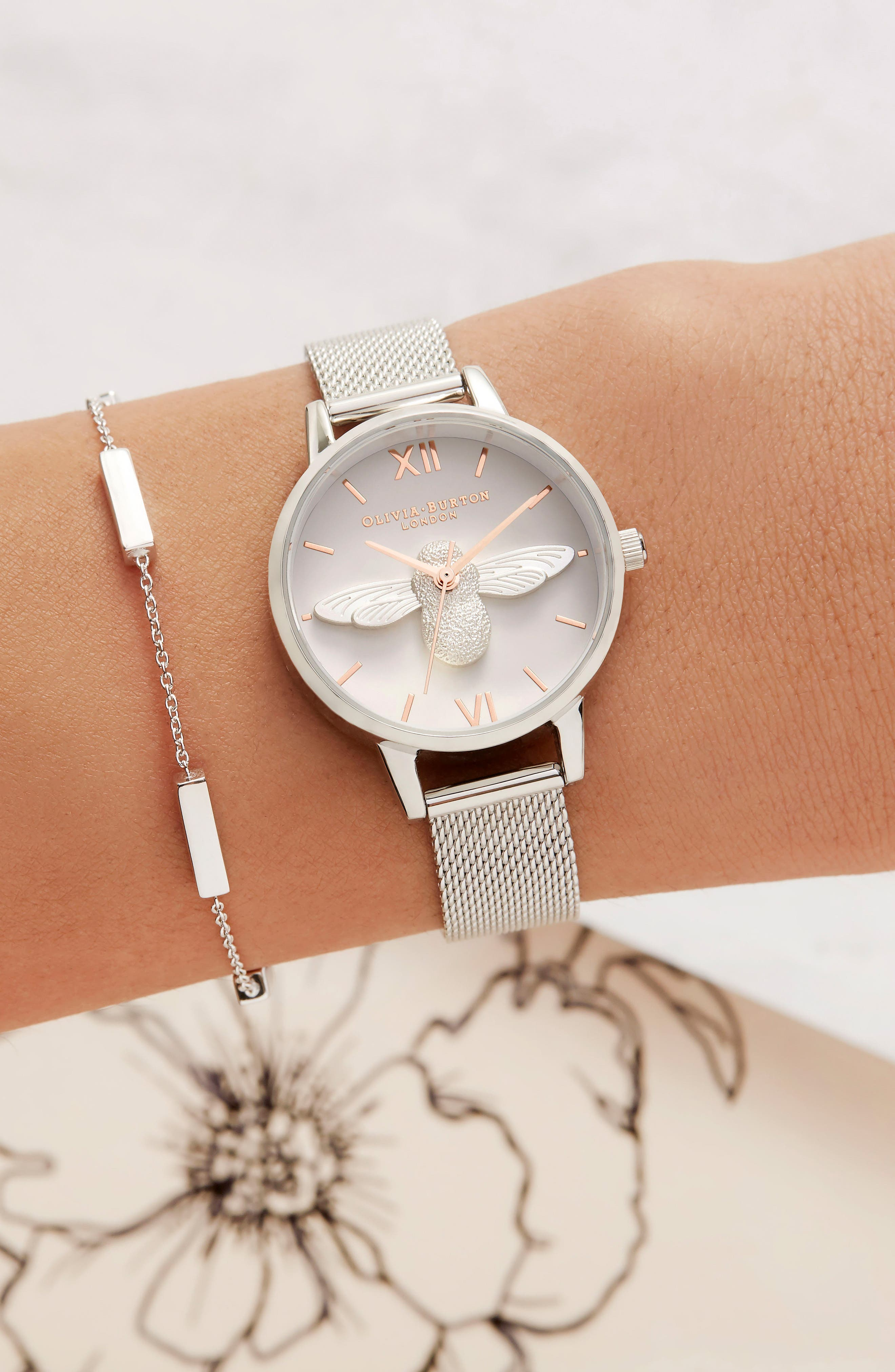 Bee Mesh Strap Watch, 30mm,                             Alternate thumbnail 5, color,                             SILVER/ BEE/ SILVER