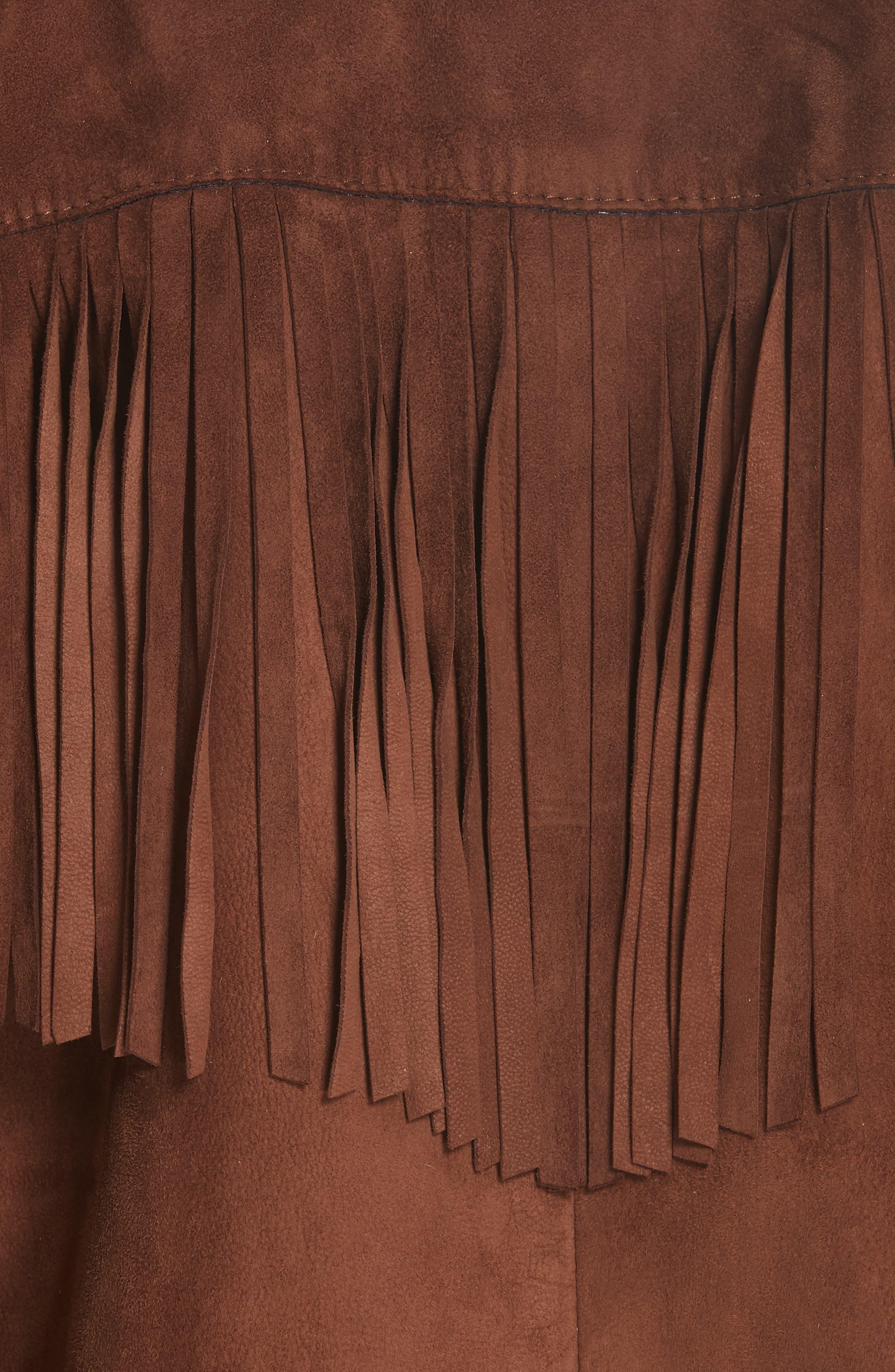 NILI LOTAN,                             Frida Suede Fringe Jacket,                             Alternate thumbnail 6, color,                             DARK COGNAC