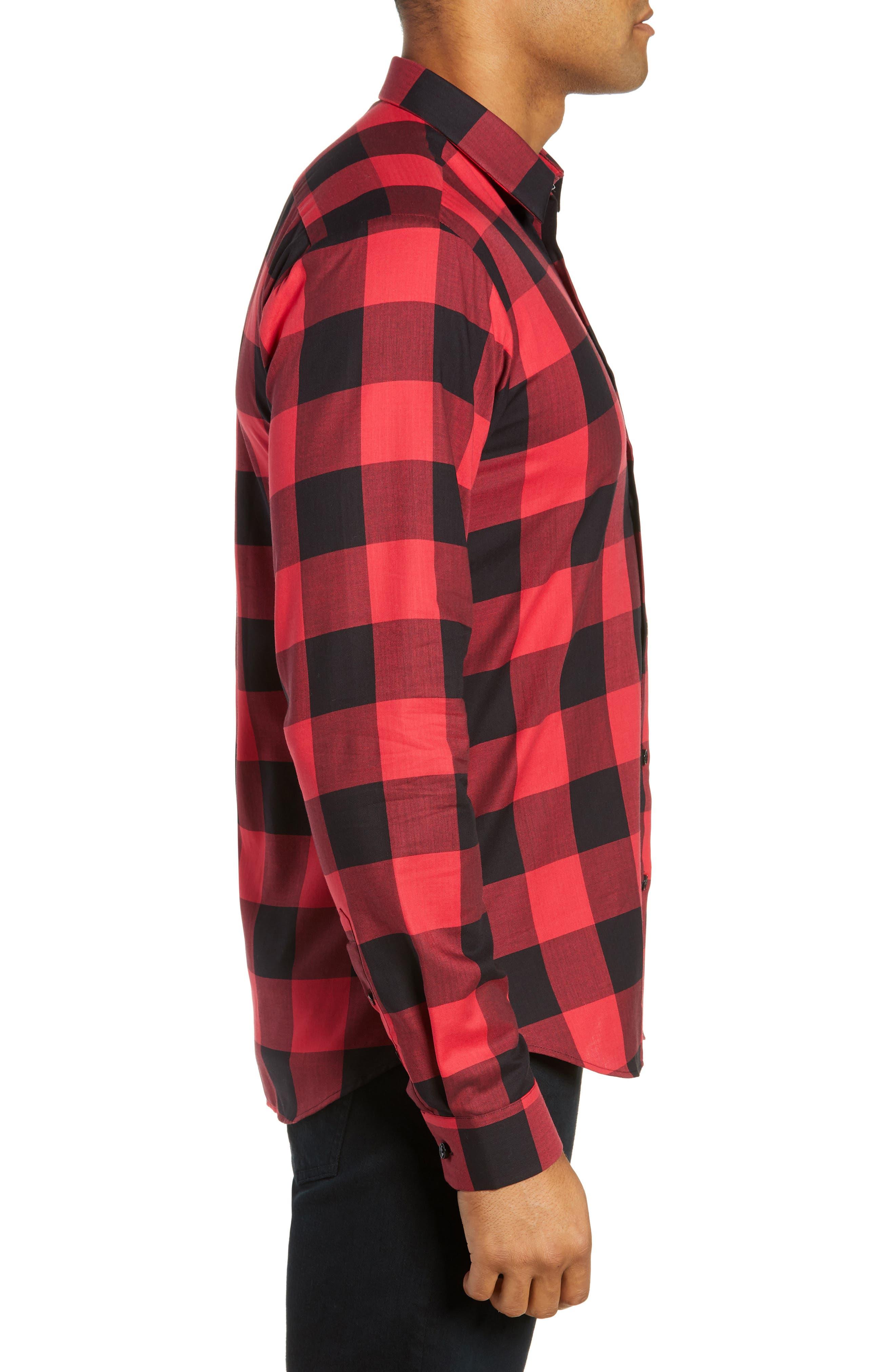 Trim Fit Buffalo Check Sport Shirt,                             Alternate thumbnail 4, color,                             RED / BLACK LARGE CHECK