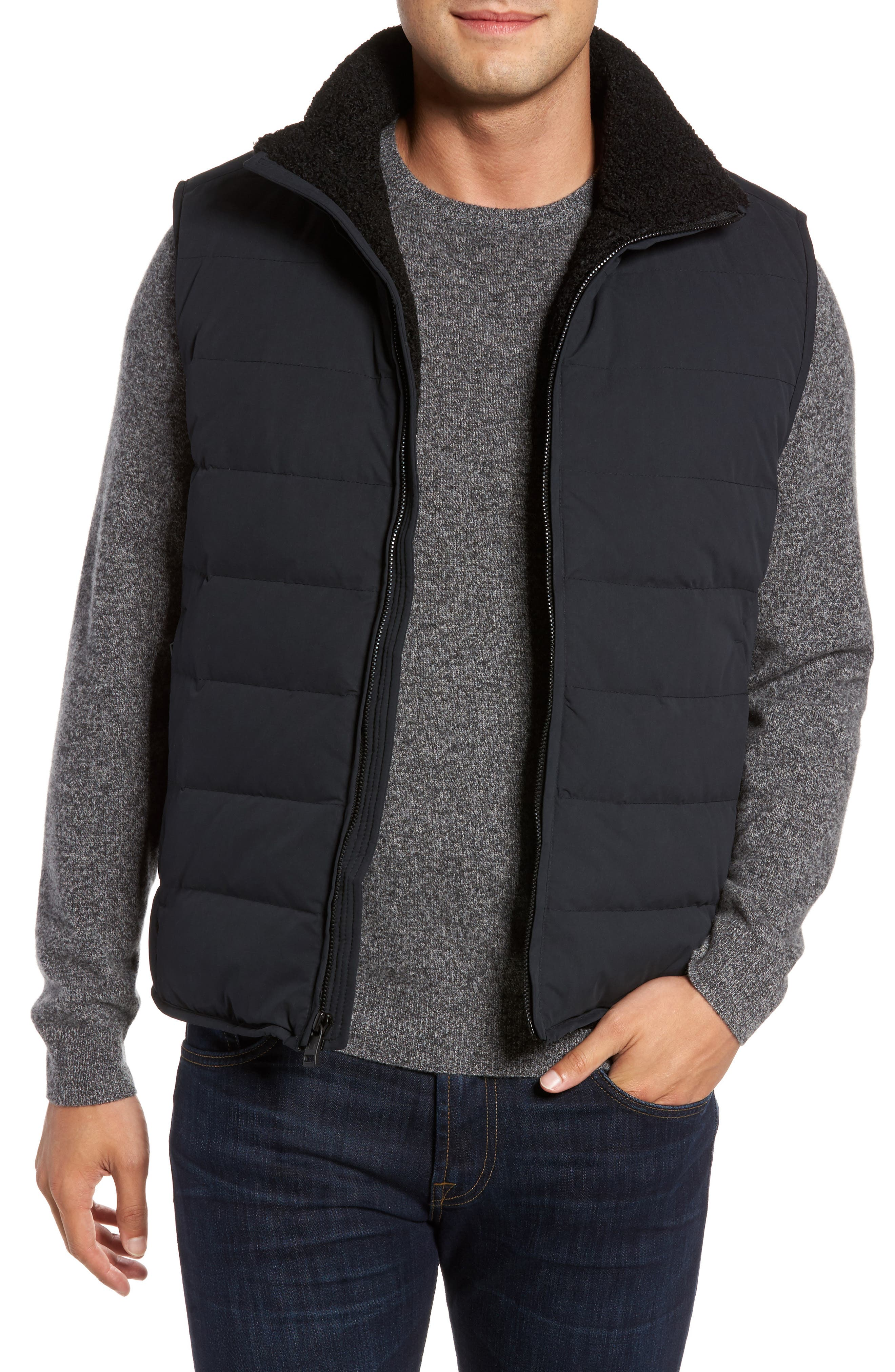 Quilted Down Vest with Faux Shearling Lining,                             Main thumbnail 1, color,