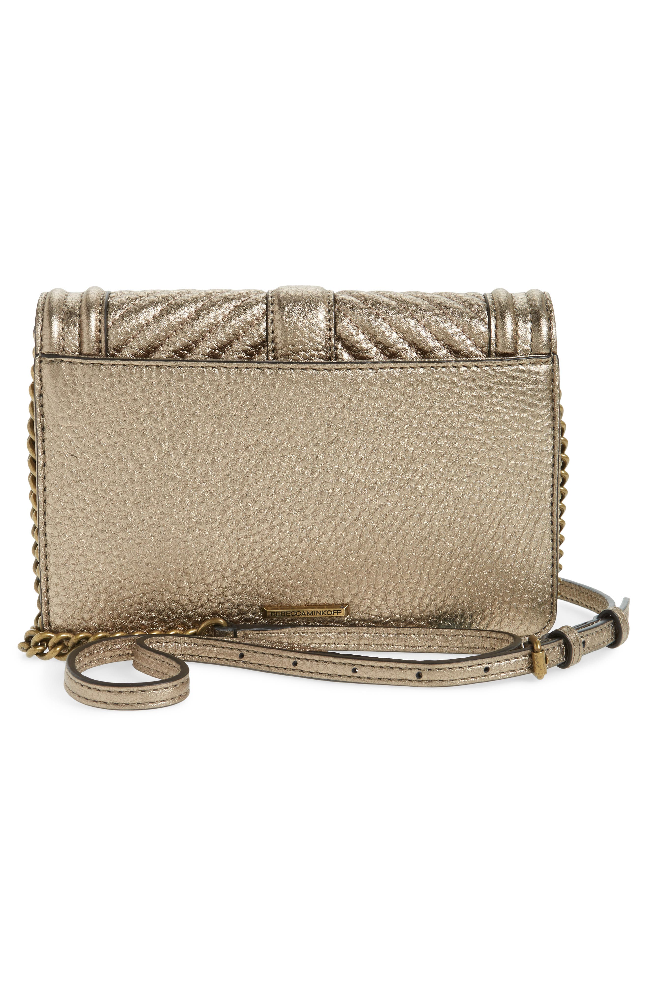 Small Love Metallic Leather Crossbody Bag,                             Alternate thumbnail 9, color,
