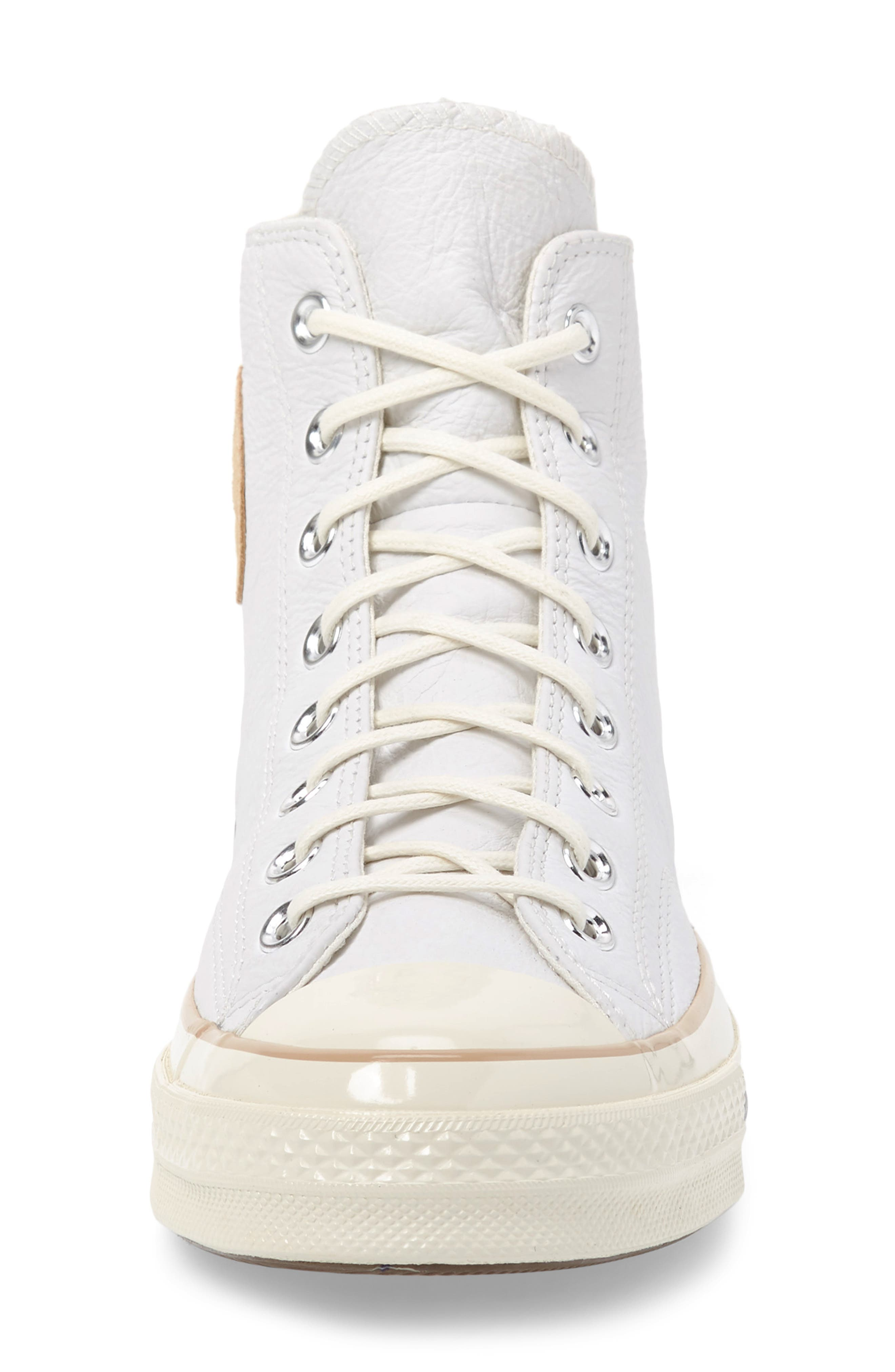 Chuck 70 Boot Leather High Top Sneaker,                             Alternate thumbnail 4, color,                             WHITE/ LIGHT FAWN/ EGRET