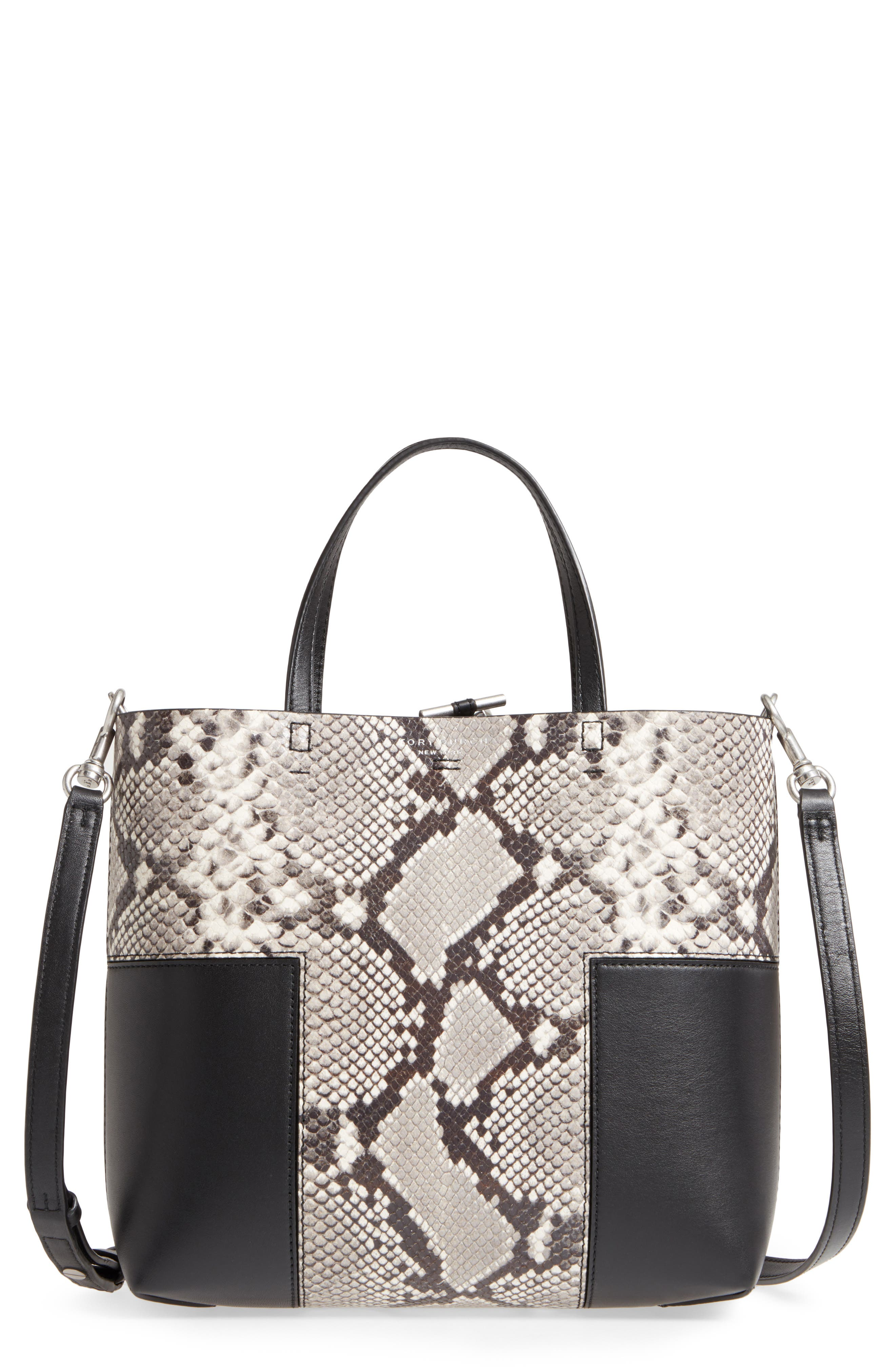 Block-T Mini Snake Embossed Leather Tote,                         Main,                         color, 001