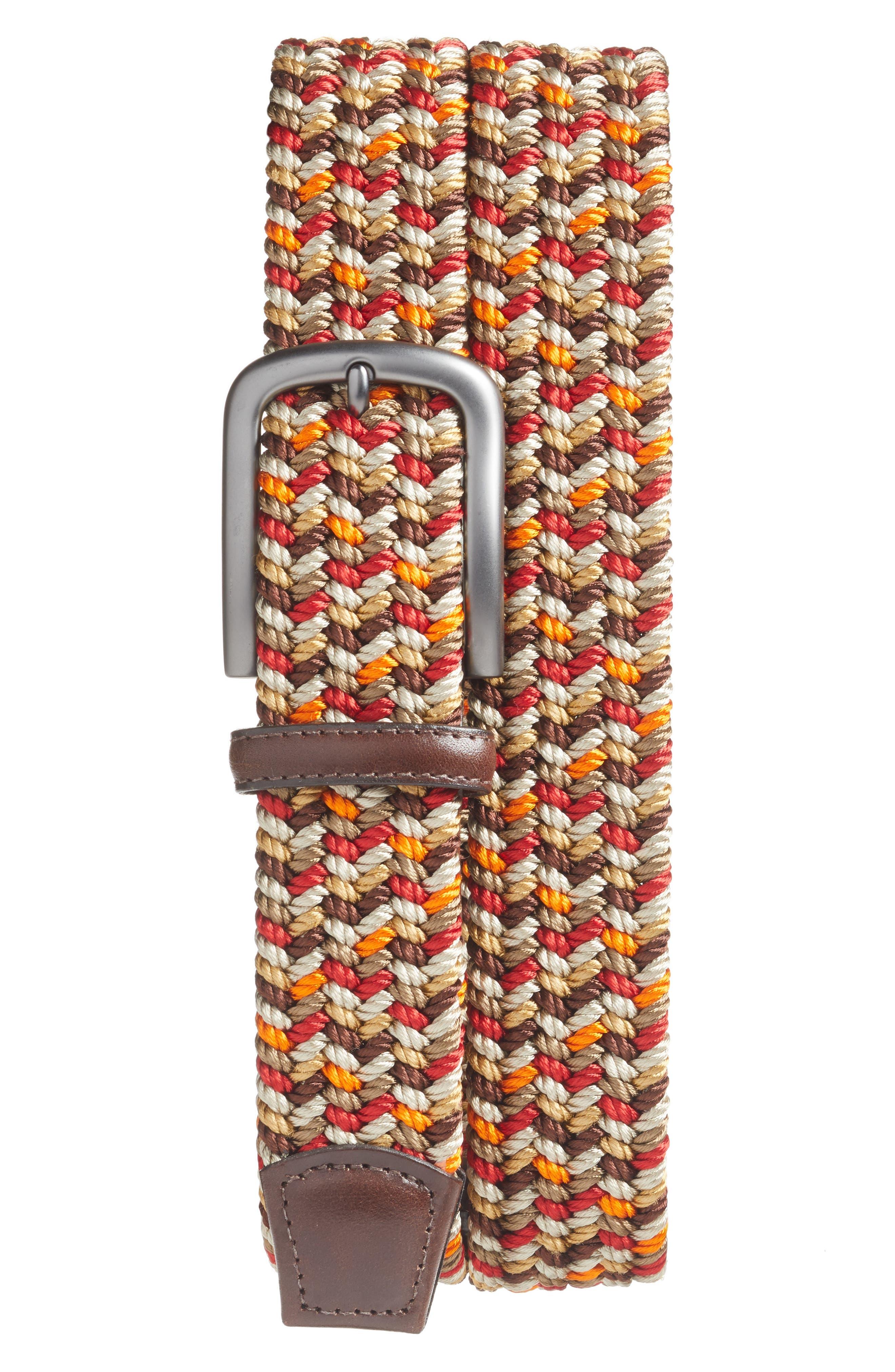 Torino Belts Woven Belt, Red Multi