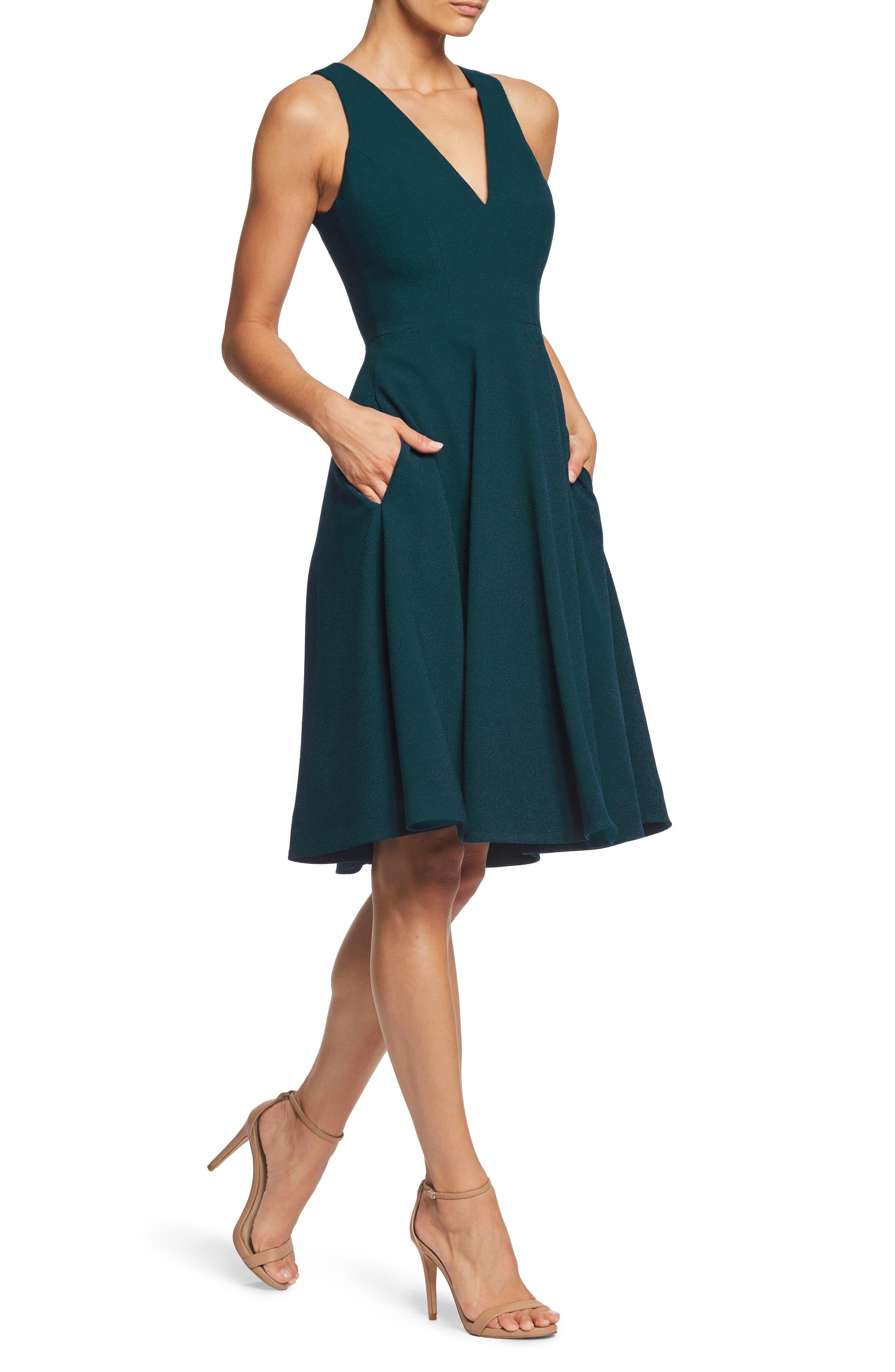 Catalina Tea Length Fit & Flare Dress,                             Alternate thumbnail 3, color,                             PINE