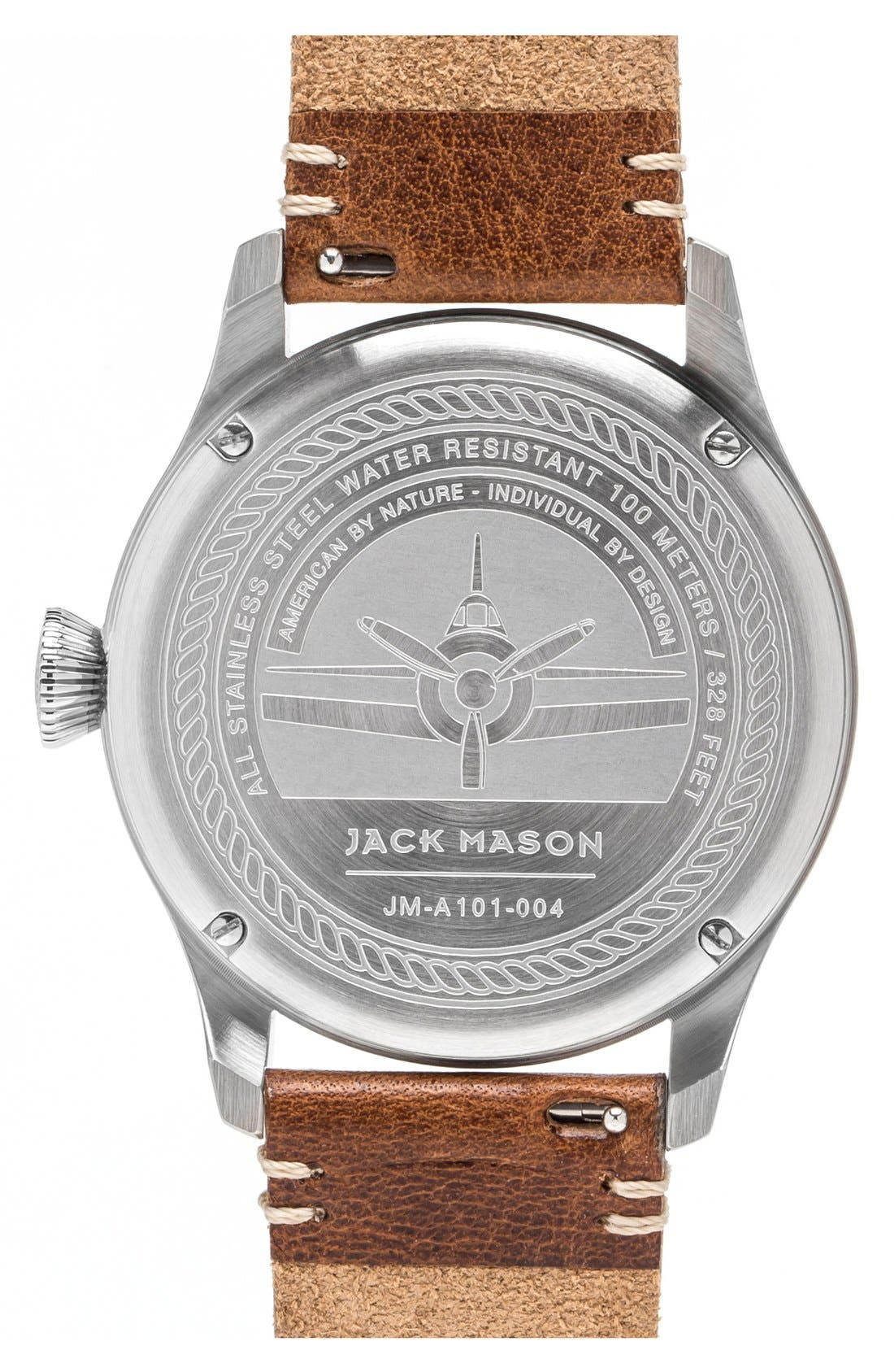 Aviation Leather Strap Watch, 42mm,                             Alternate thumbnail 3, color,                             NAVY/ SILVER/ SADDLE