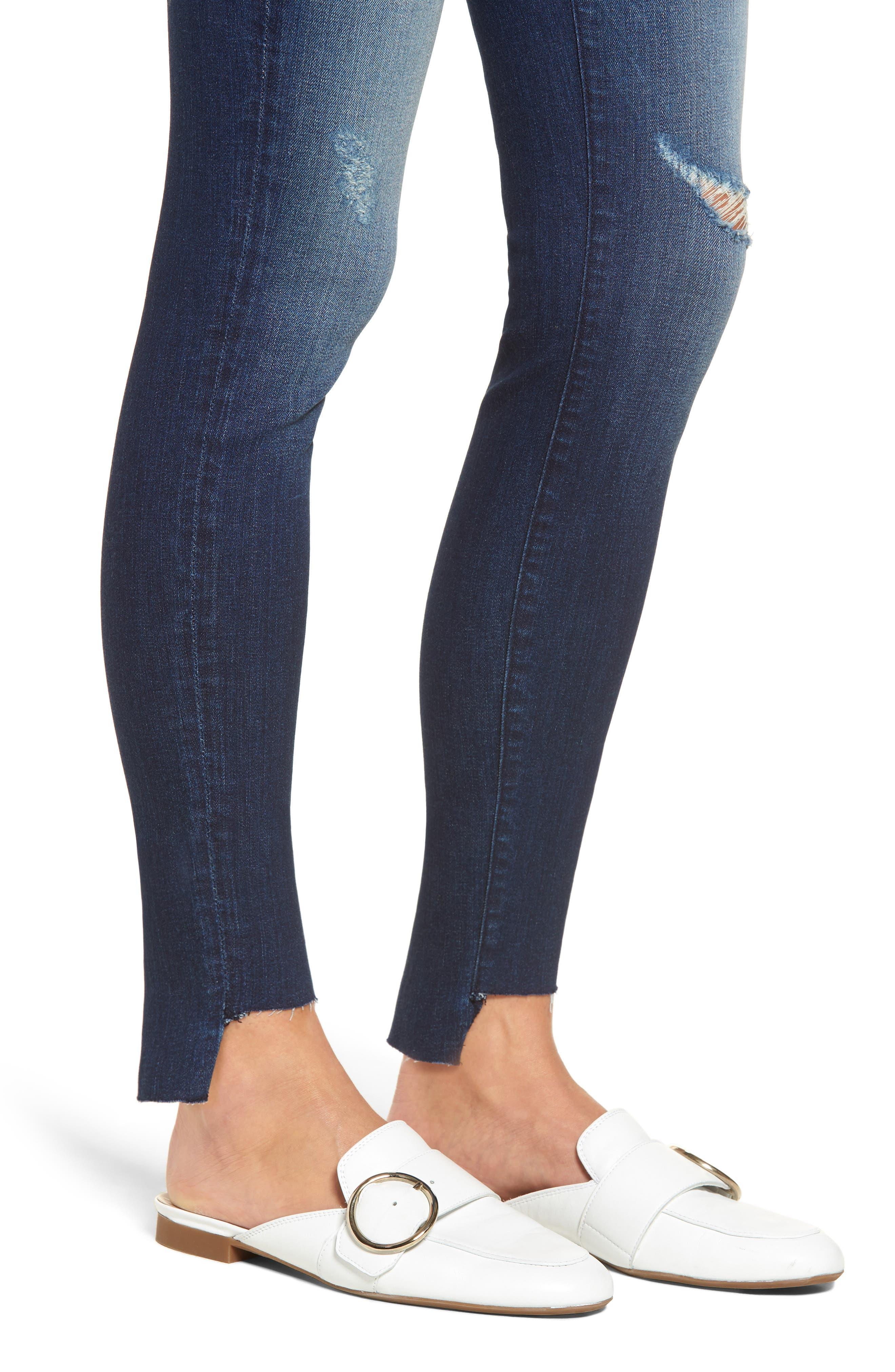 Connie Step Hem Skinny Jeans,                             Alternate thumbnail 4, color,                             CLEAN