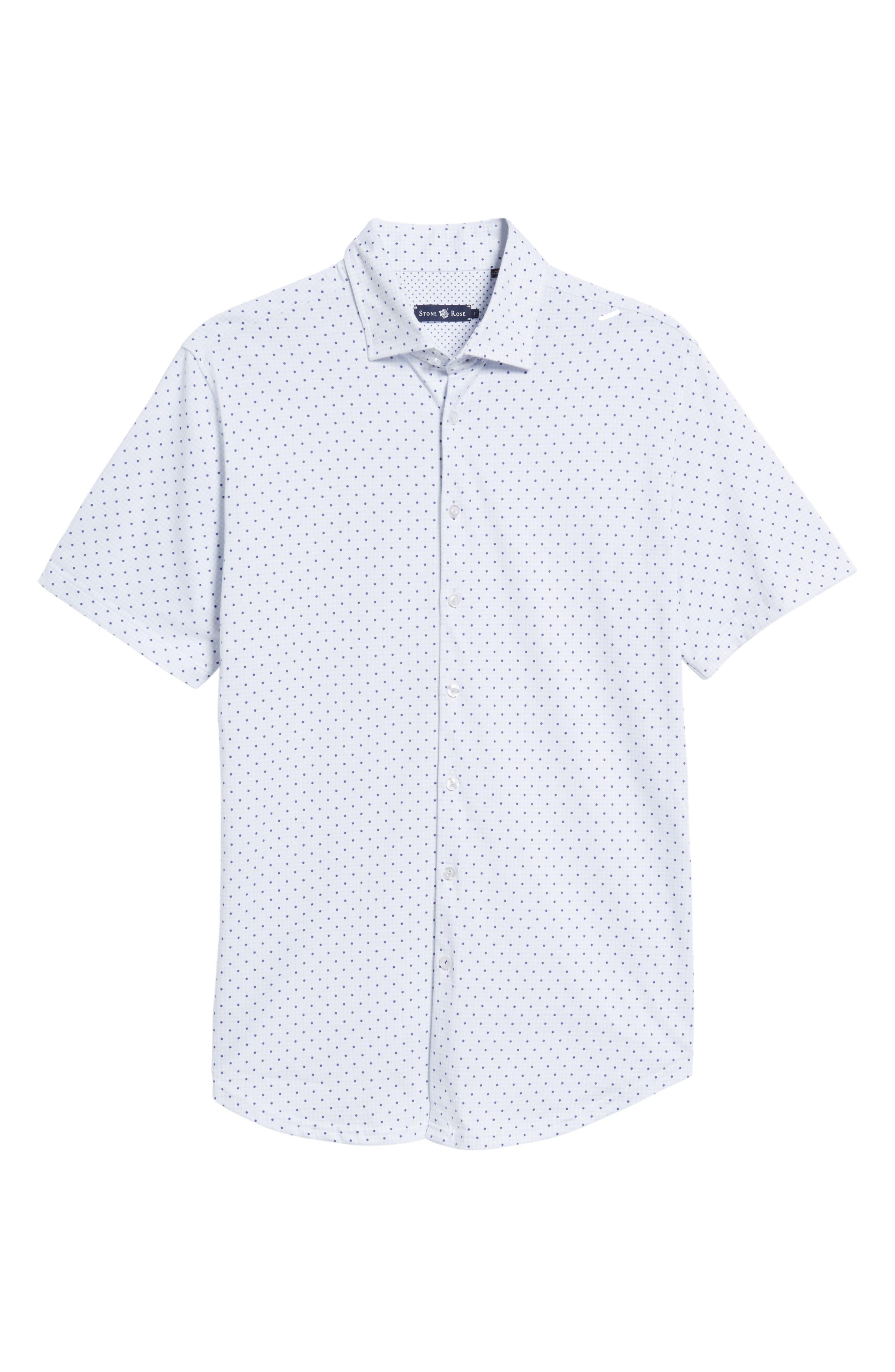 Trim Fit Polka Dot Check Sport Shirt,                             Alternate thumbnail 6, color,                             020