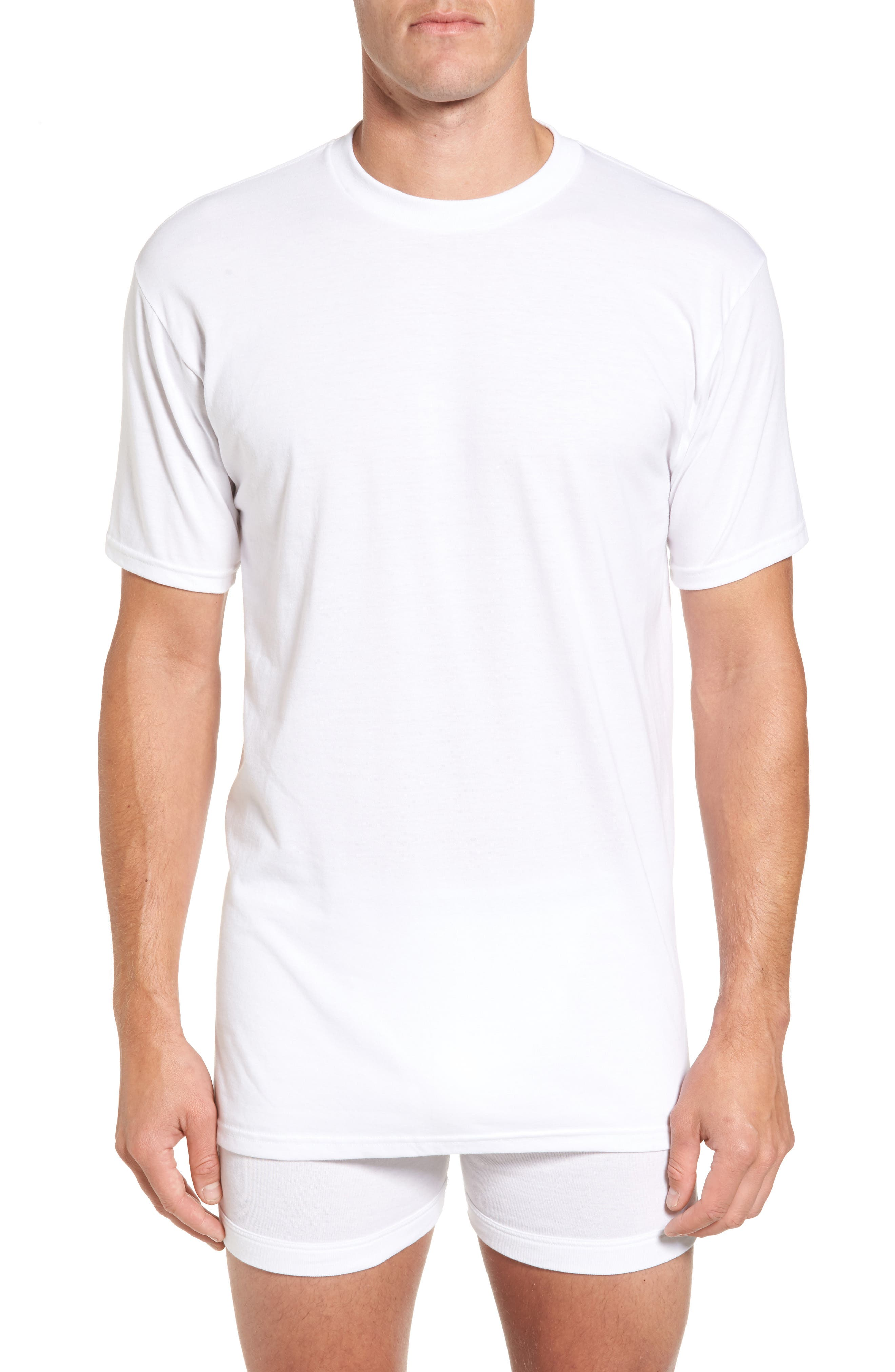 Regular Fit 4-Pack Supima<sup>®</sup> Cotton T-Shirts,                         Main,                         color, WHITE