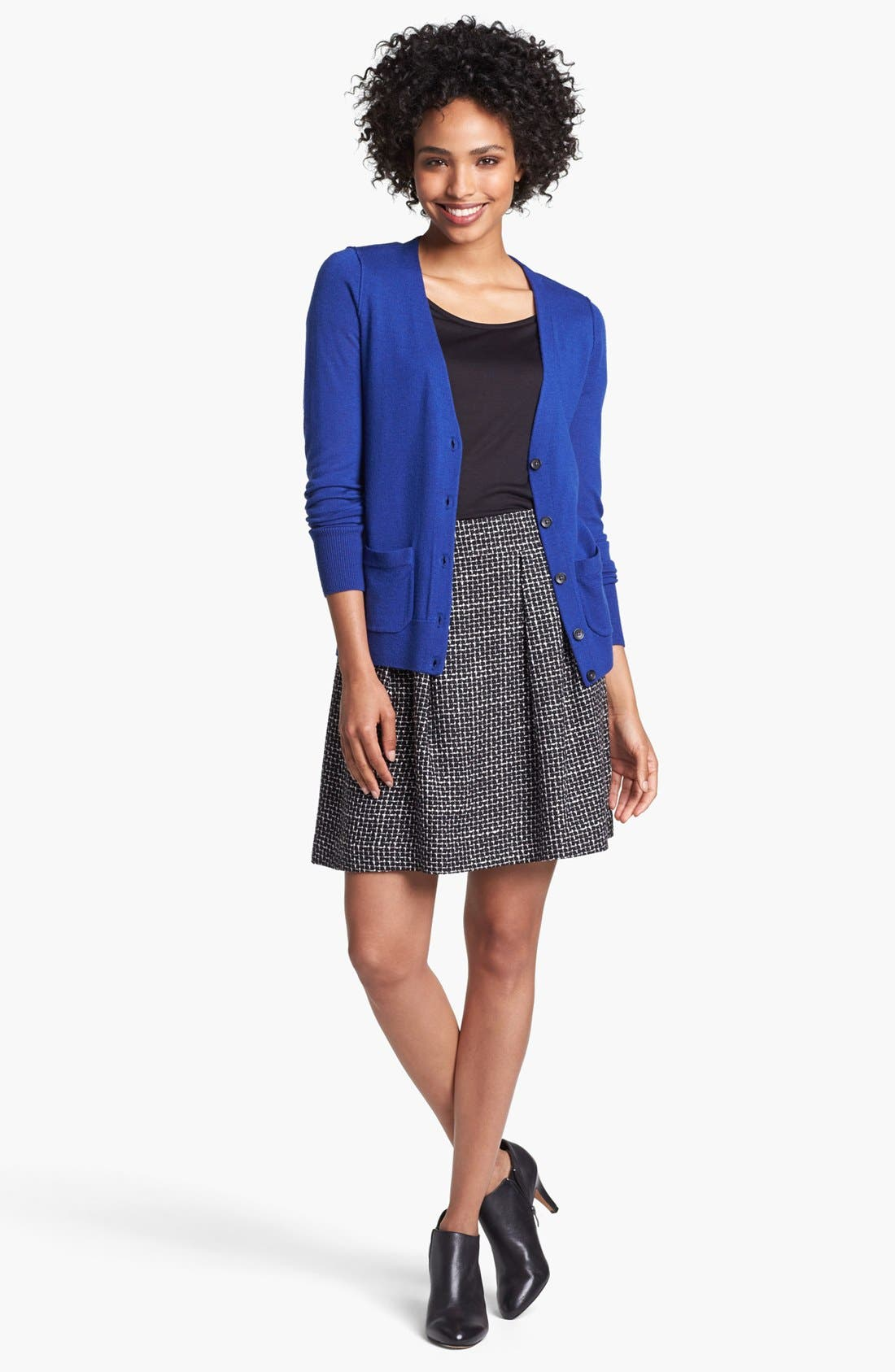 Pleated A-Line Skirt,                             Alternate thumbnail 4, color,                             001