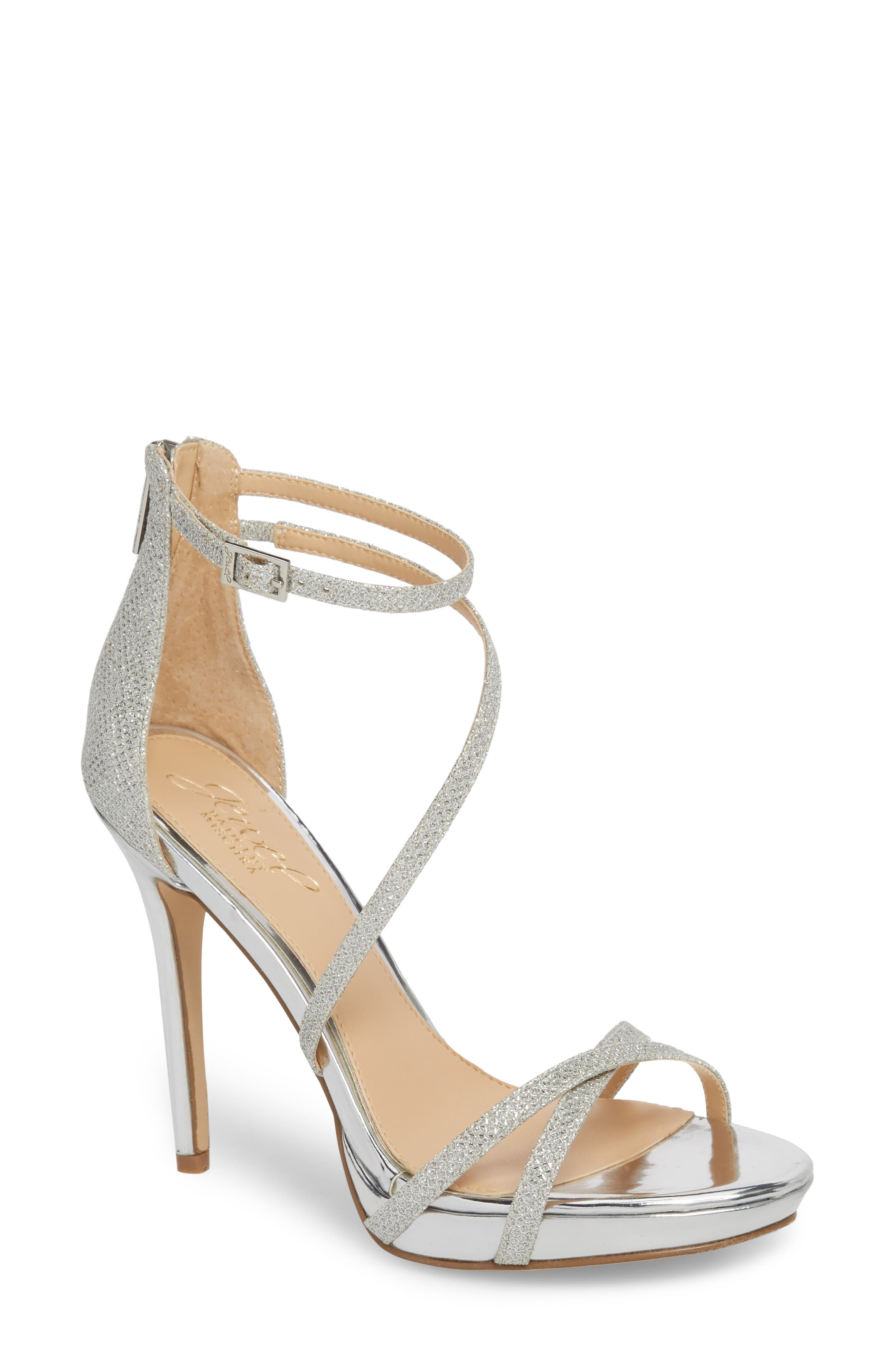 Galen Strappy Platform Sandal,                             Main thumbnail 1, color,                             SILVER GLITTER FABRIC
