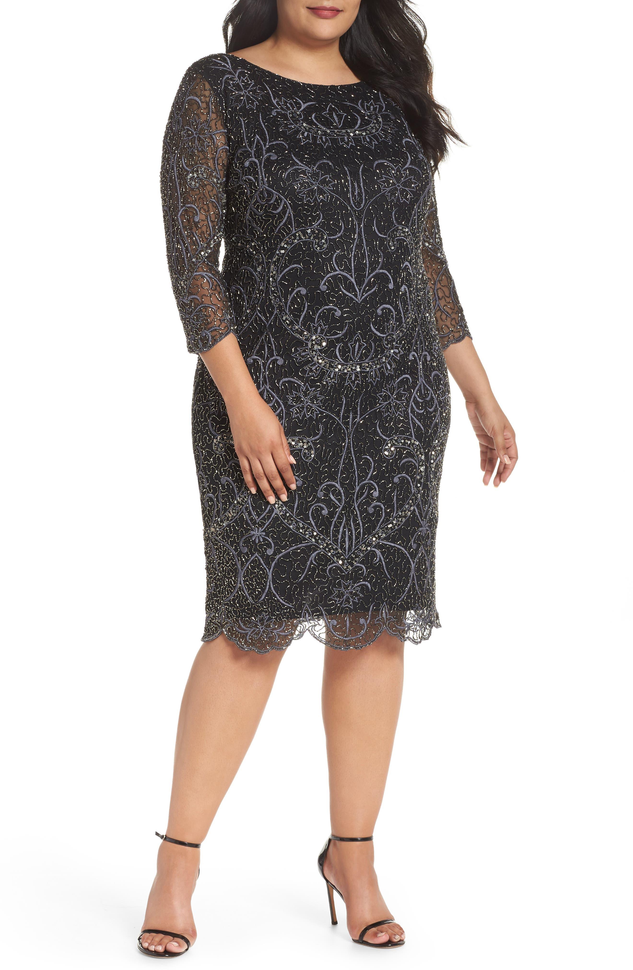 Embellished Sheath Dress,                             Main thumbnail 1, color,                             001