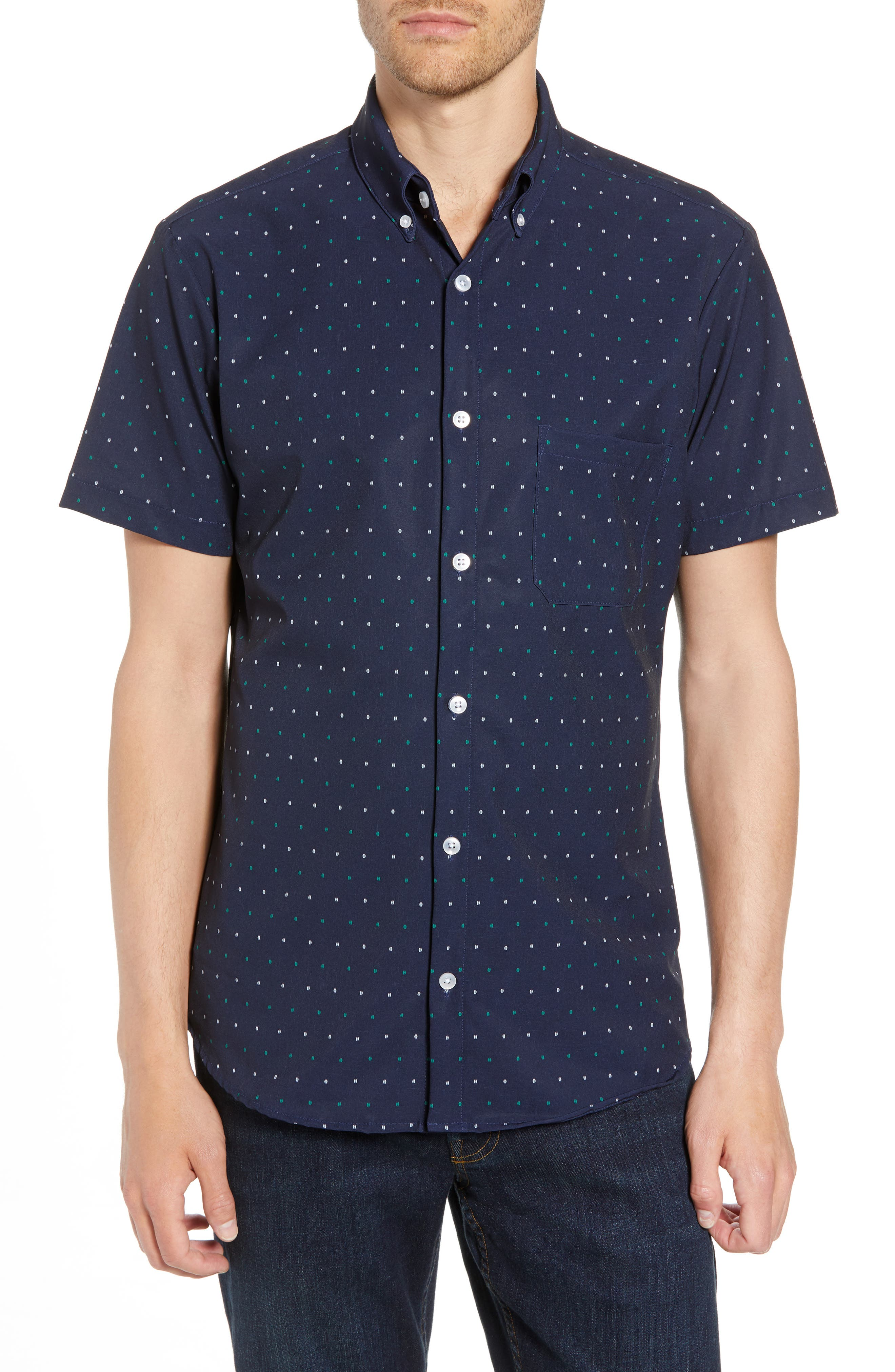 Jameson Regular Fit Dot Performance Sport Shirt,                         Main,                         color, BLUE