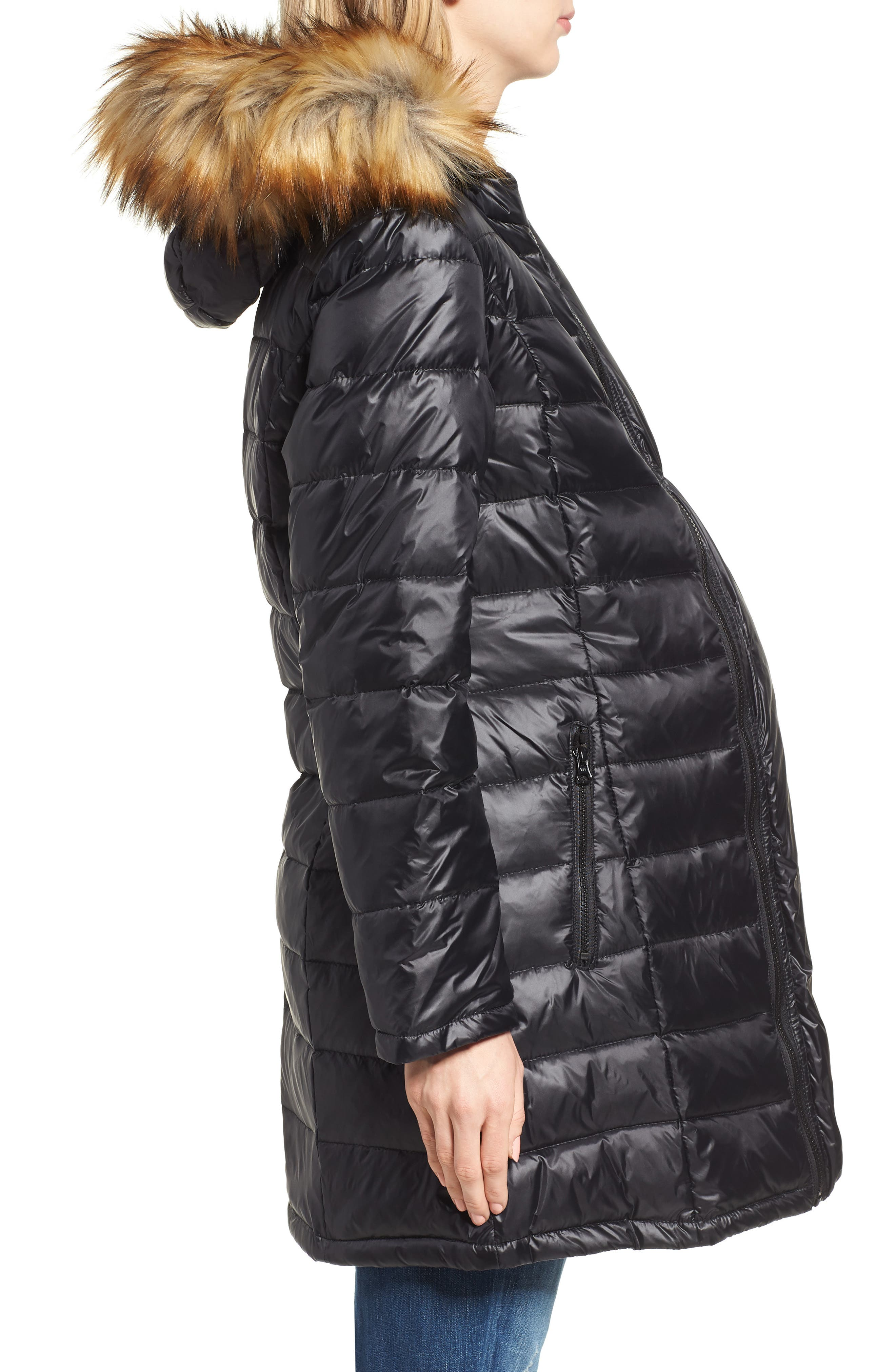 Quilted 3-in-1 Maternity/Nursing Parka,                             Alternate thumbnail 4, color,                             BLACK