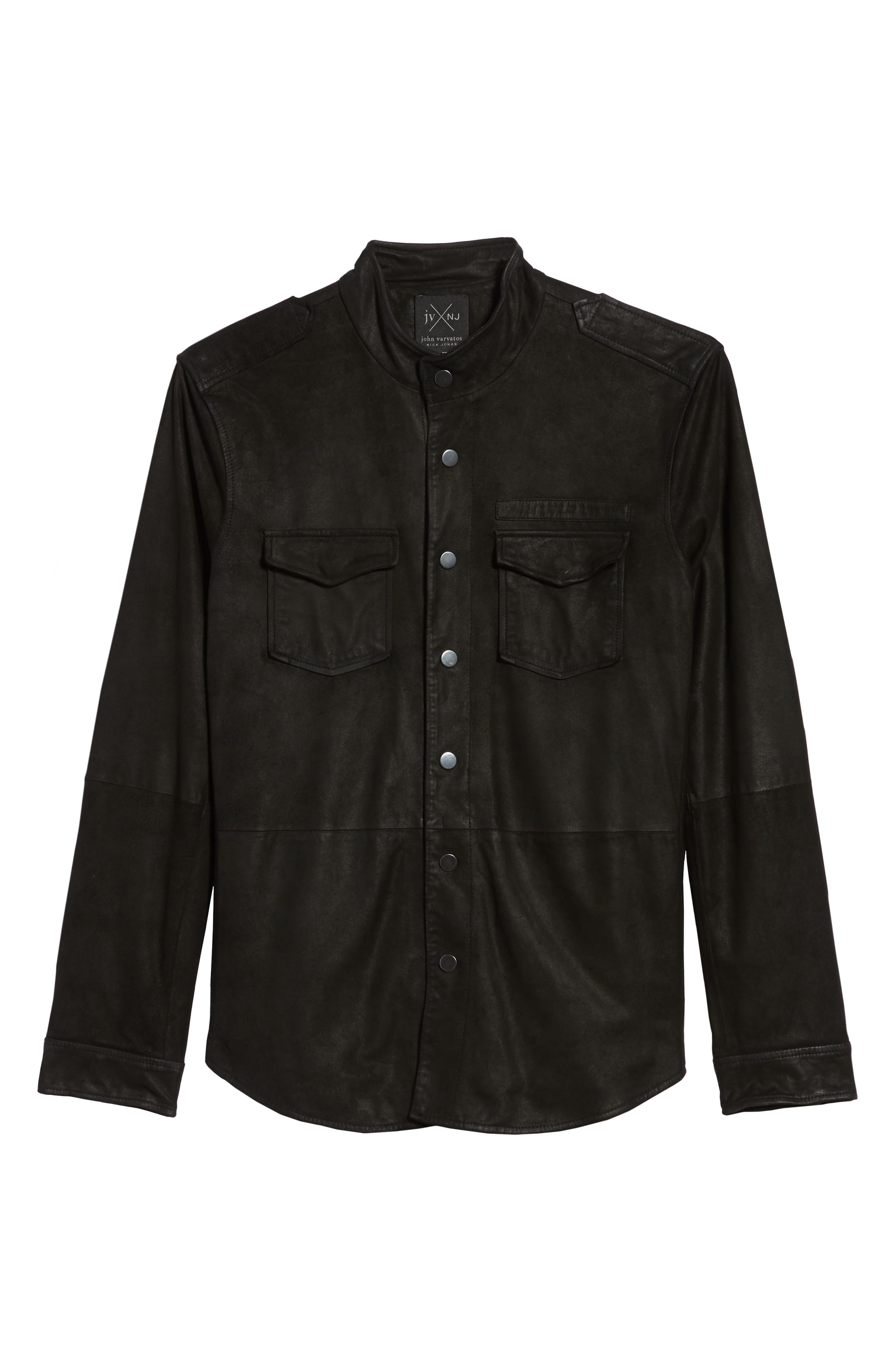 John Varvatos x Nick Jonas Suede Shirt Jacket,                             Alternate thumbnail 5, color,                             BLACK