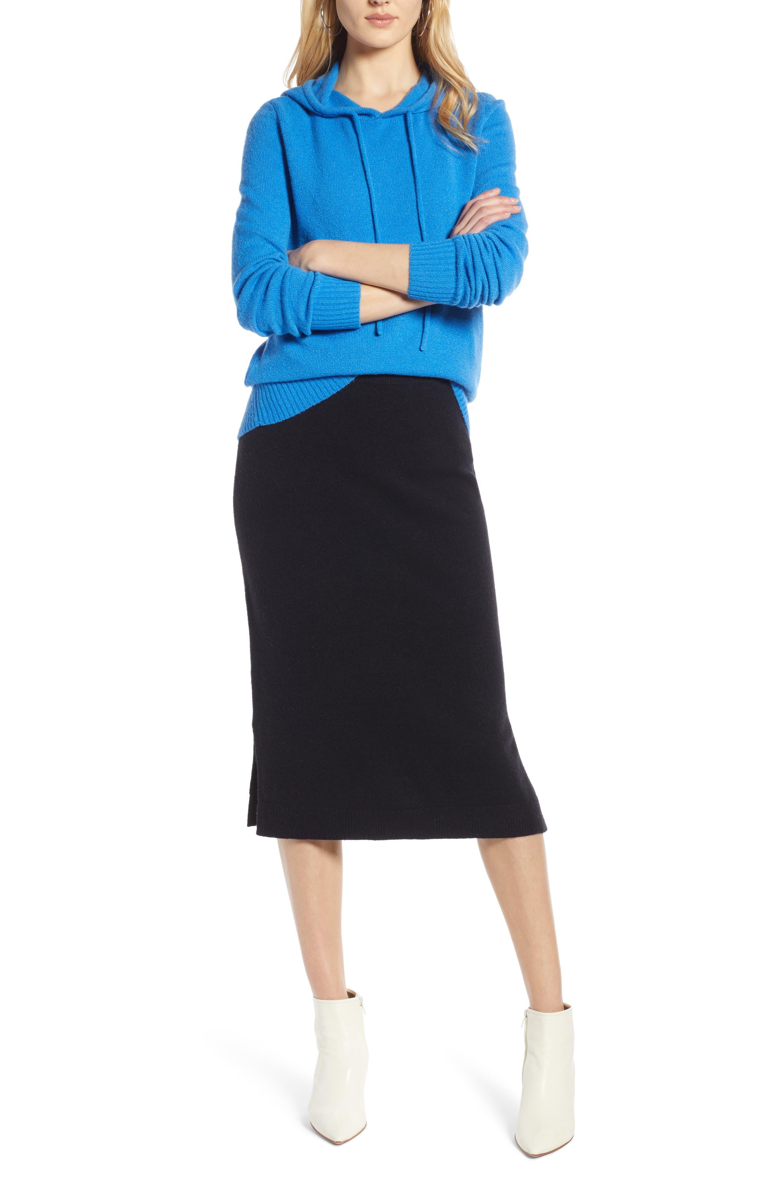 Sweater Pencil Sweater Skirt,                             Alternate thumbnail 7, color,                             BLACK
