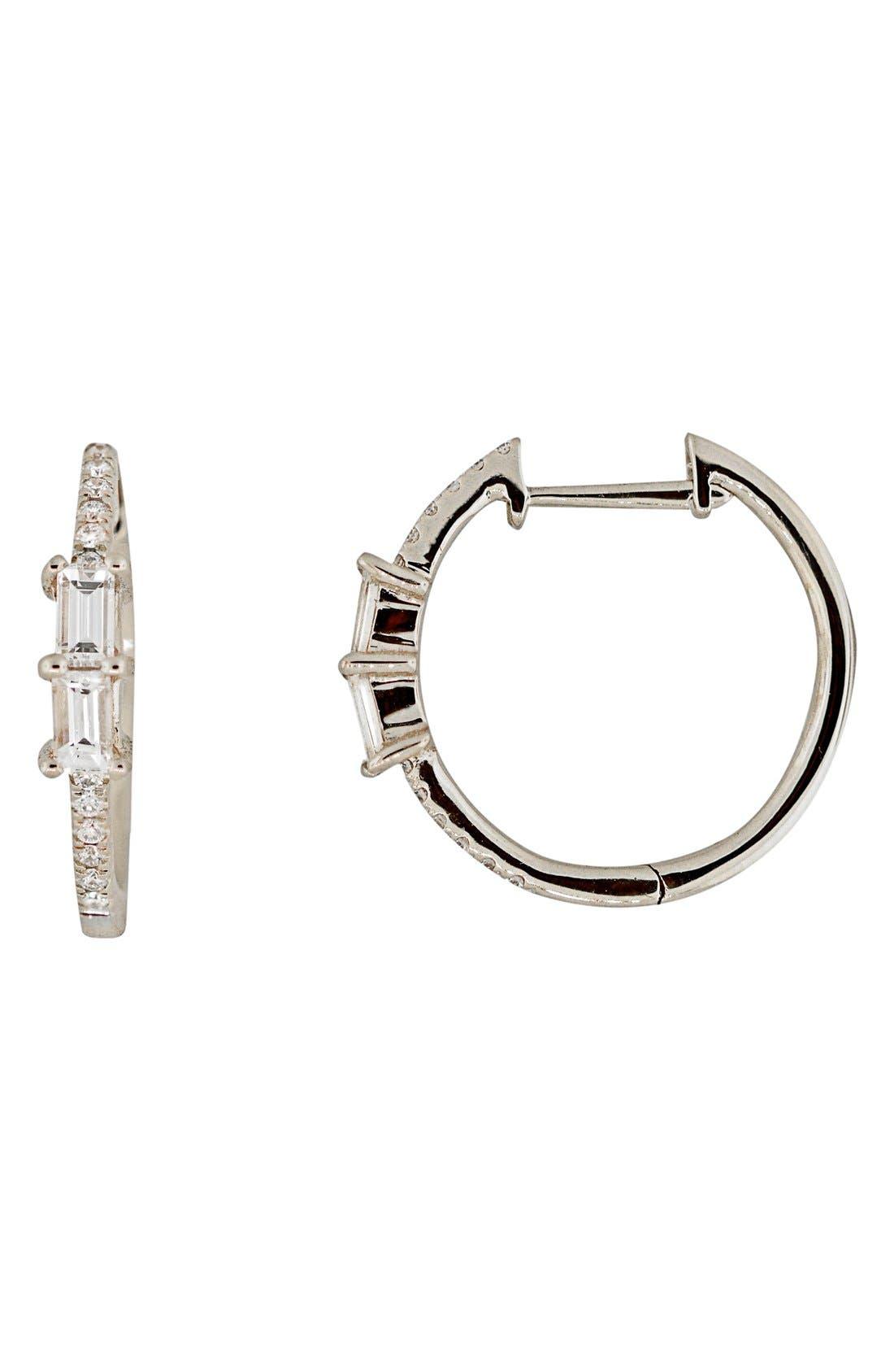 Diamond Hoop Earrings,                             Main thumbnail 1, color,                             WHITE GOLD