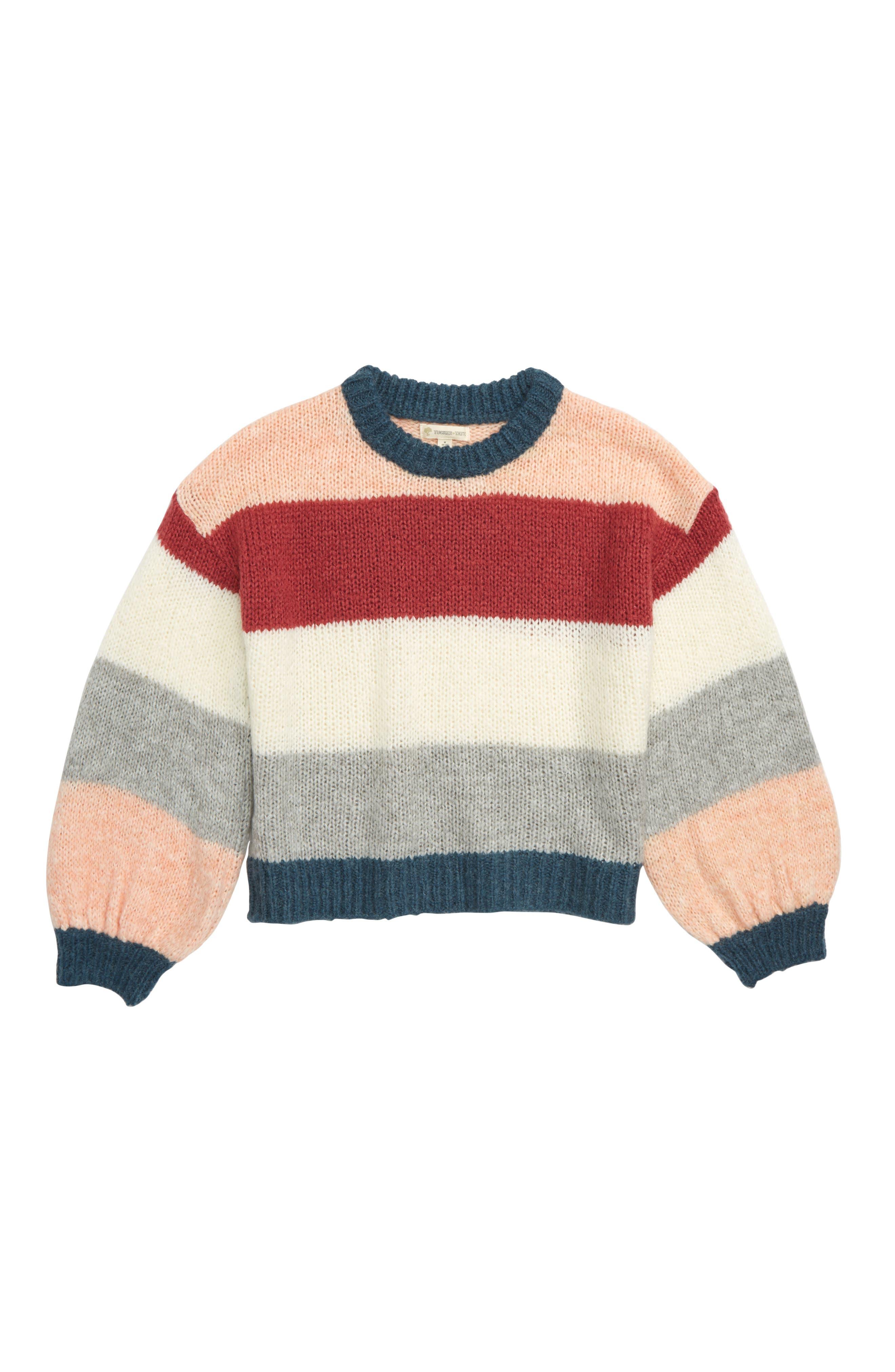 Colorblock Sweater, Main, color, PINK PEACHSKIN MULTI STRIPE