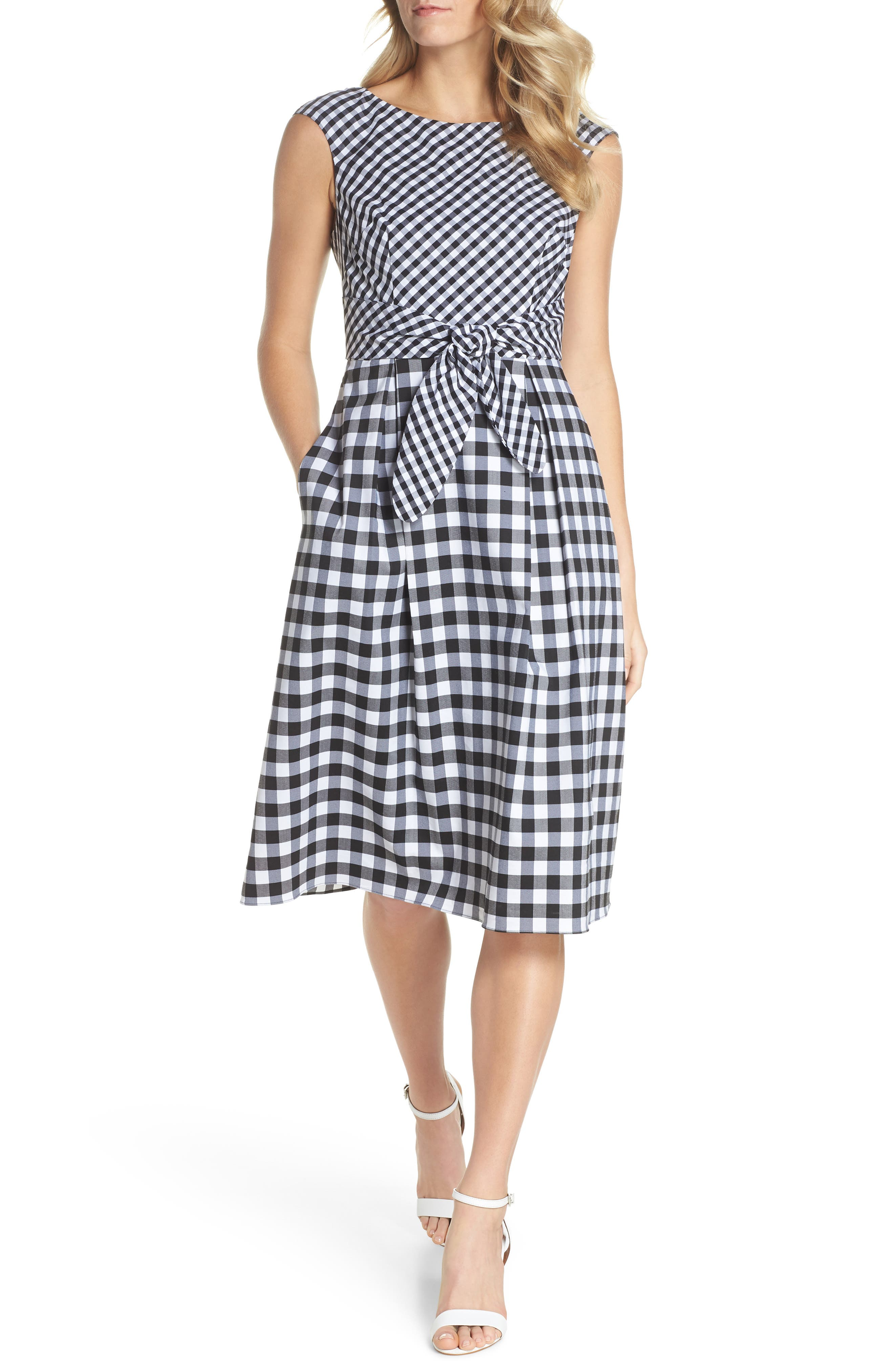 ADRIANNA PAPELL,                             Gingham Tie Front Midi Dress,                             Main thumbnail 1, color,                             002