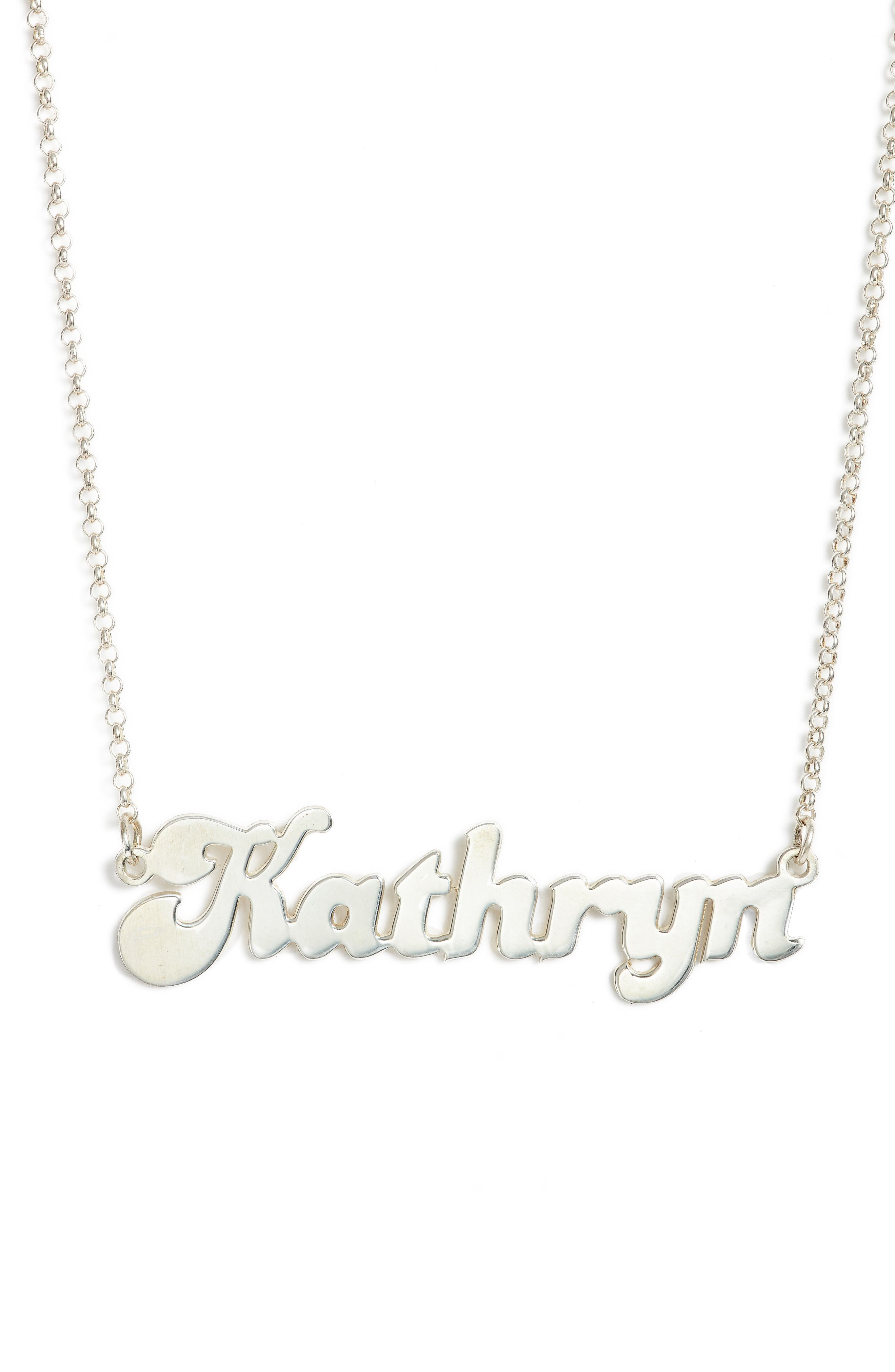 Banana Split Font Personalized Necklace,                         Main,                         color, SILVER