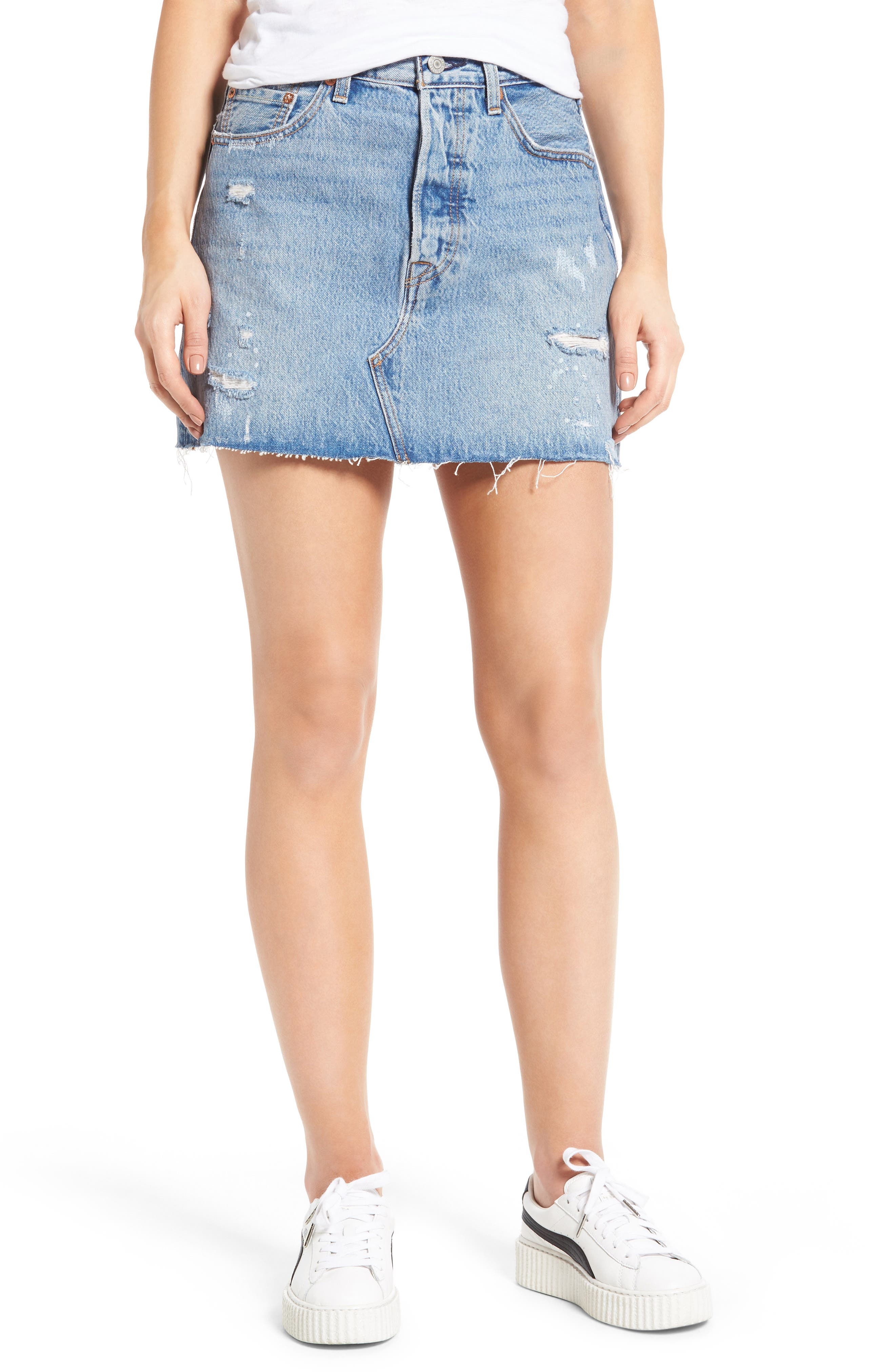 Deconstructed Denim Skirt,                         Main,                         color, 420