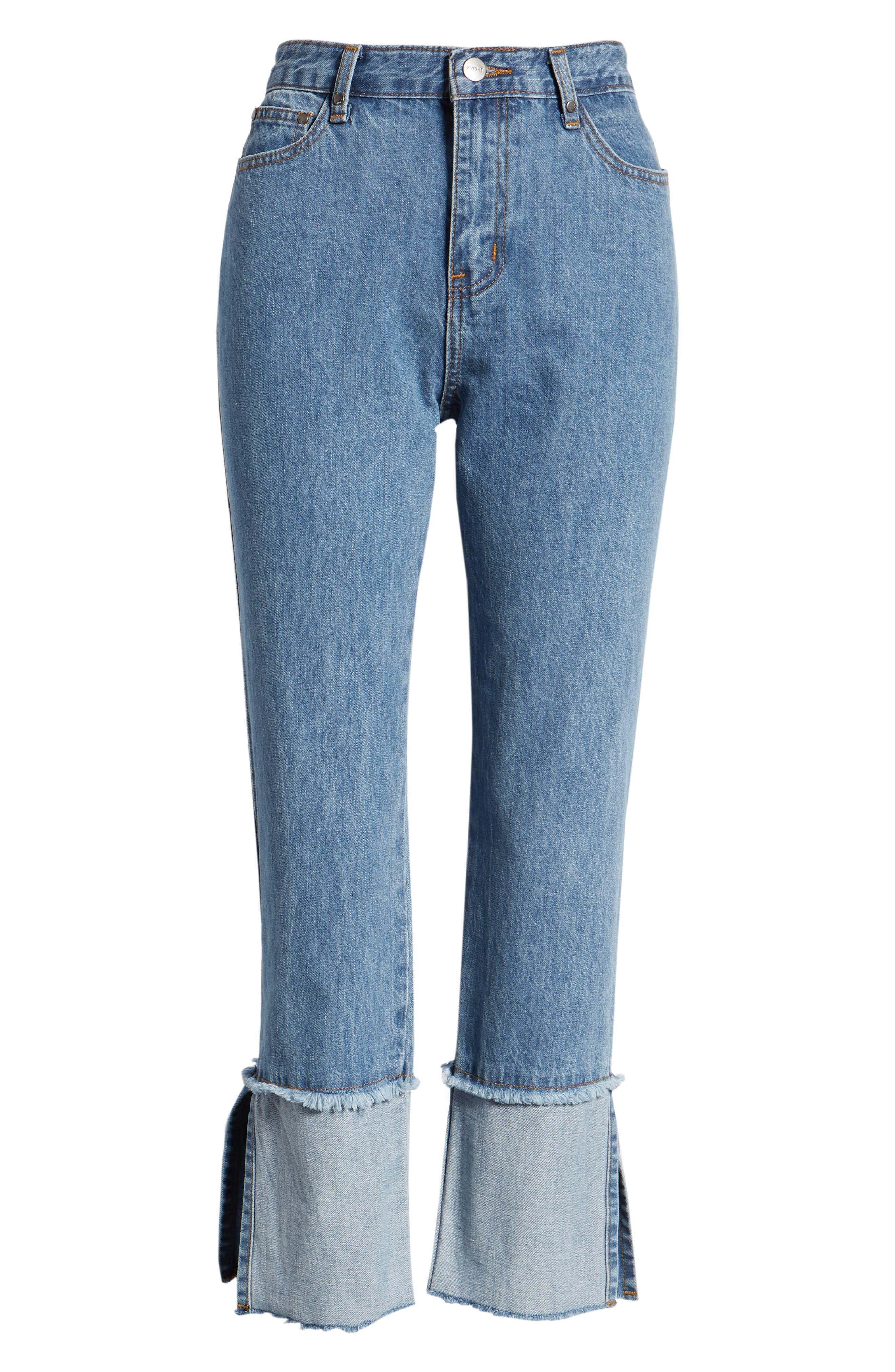 Cuffed Raw Hem Crop Jeans,                             Alternate thumbnail 7, color,                             FAIRFAX