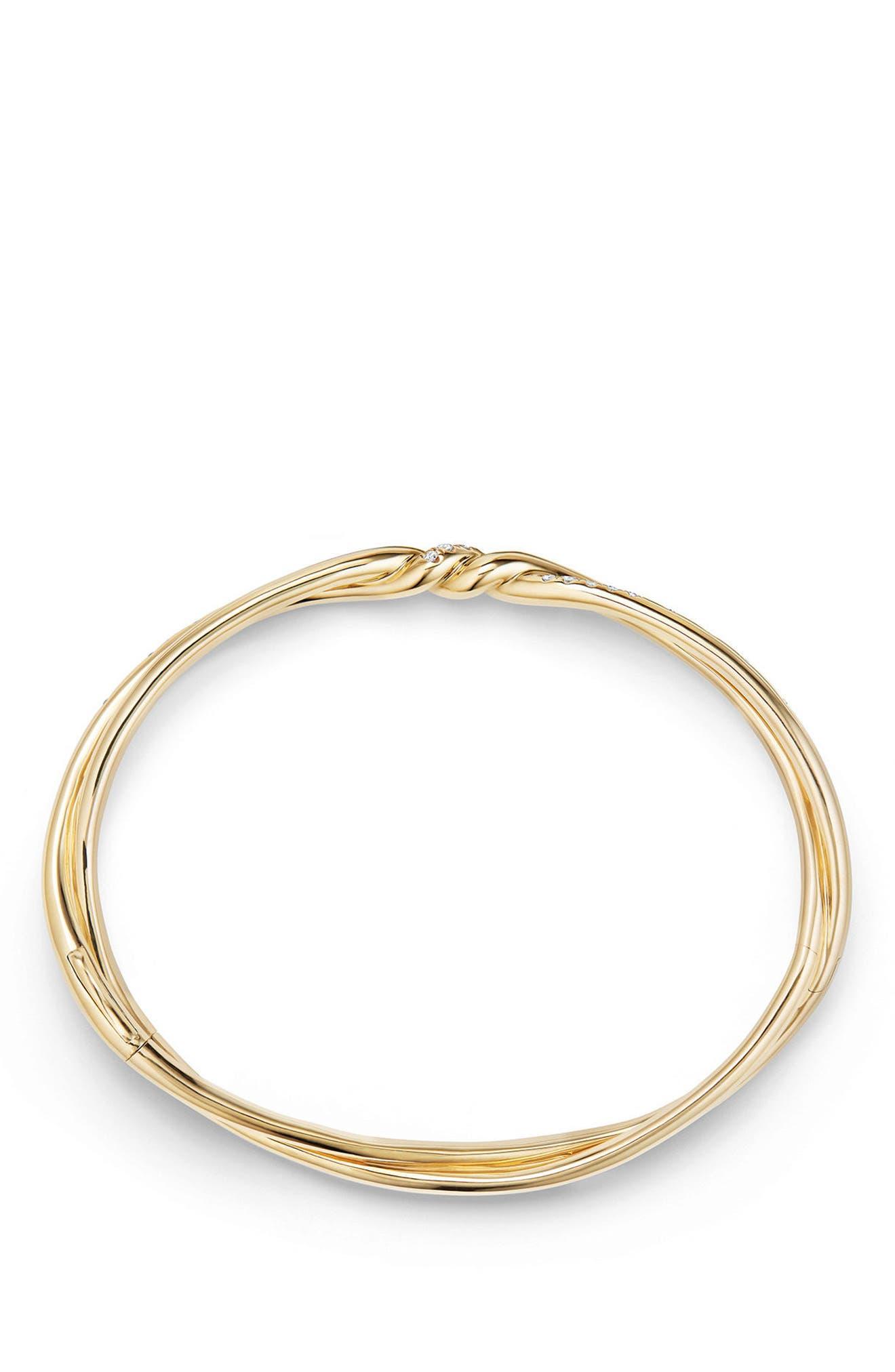 Continuance Center Twist 18K Gold Bracelet with Diamonds,                             Alternate thumbnail 2, color,                             YELLOW GOLD