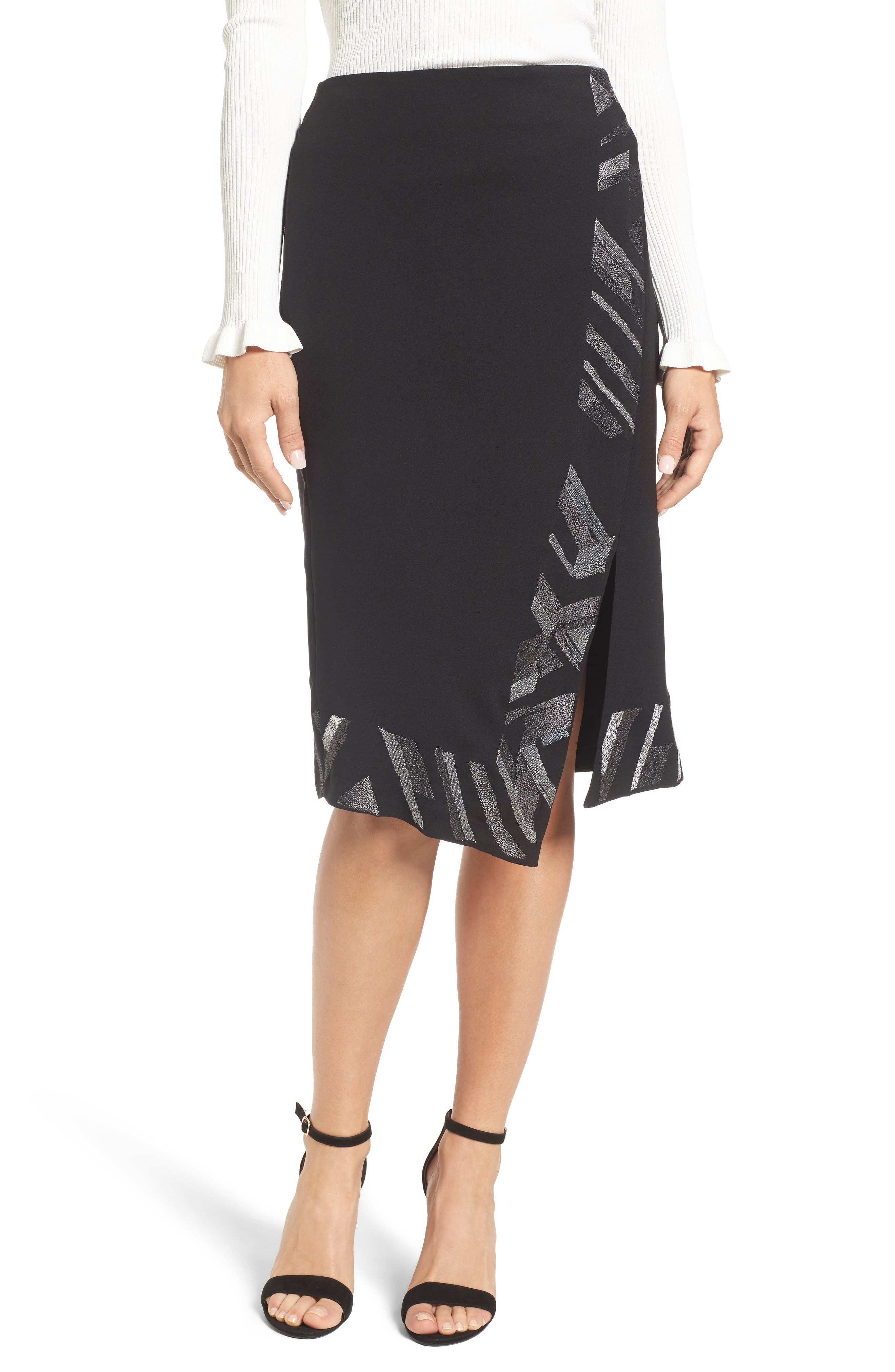 Trimmed Time Faux Wrap Skirt,                             Main thumbnail 1, color,                             009