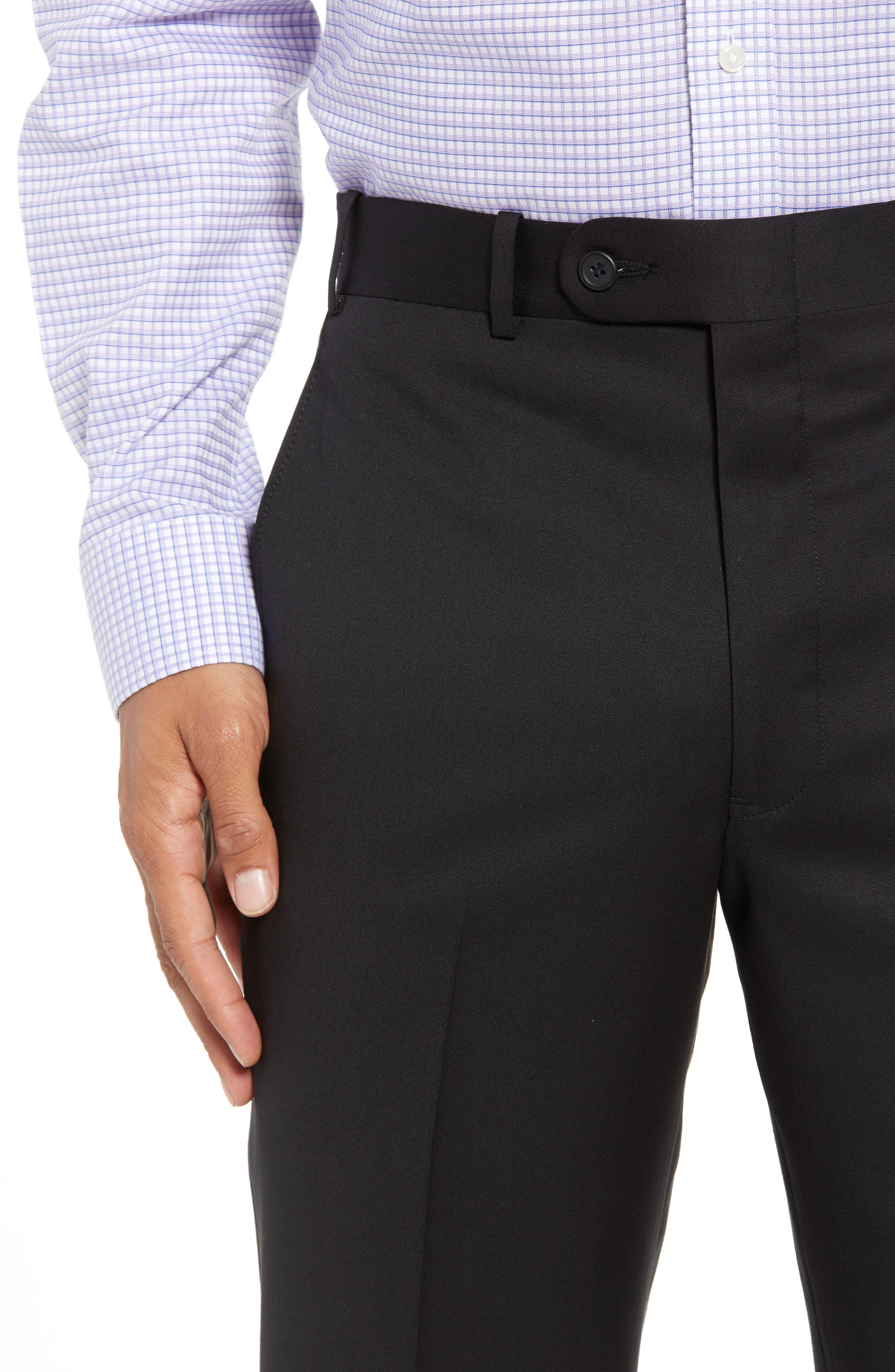 Torino Flat Front Wool Gabardine Trousers,                             Alternate thumbnail 4, color,                             001
