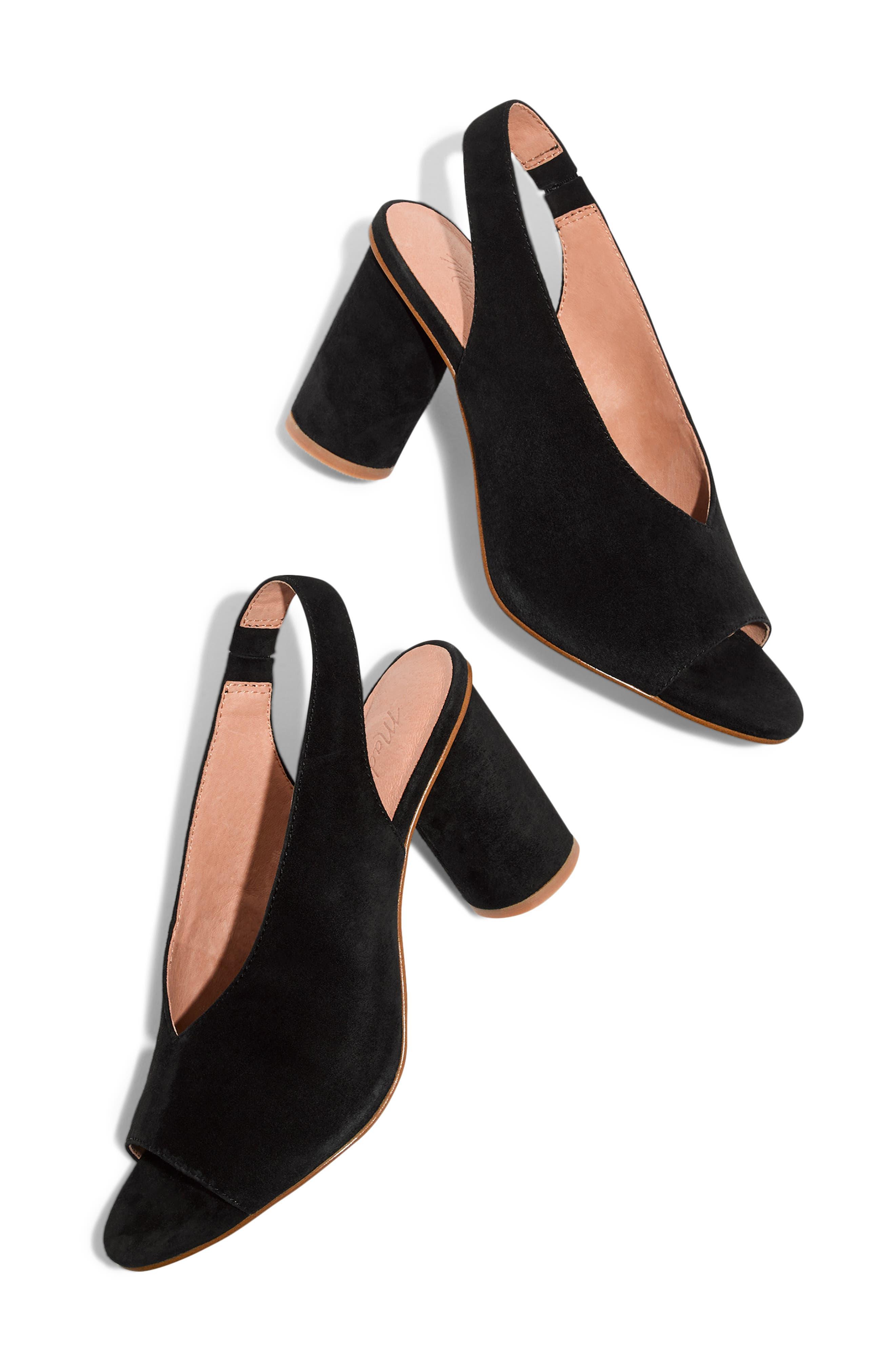 The Alana Slingback Sandal,                             Alternate thumbnail 8, color,                             TRUE BLACK SUEDE