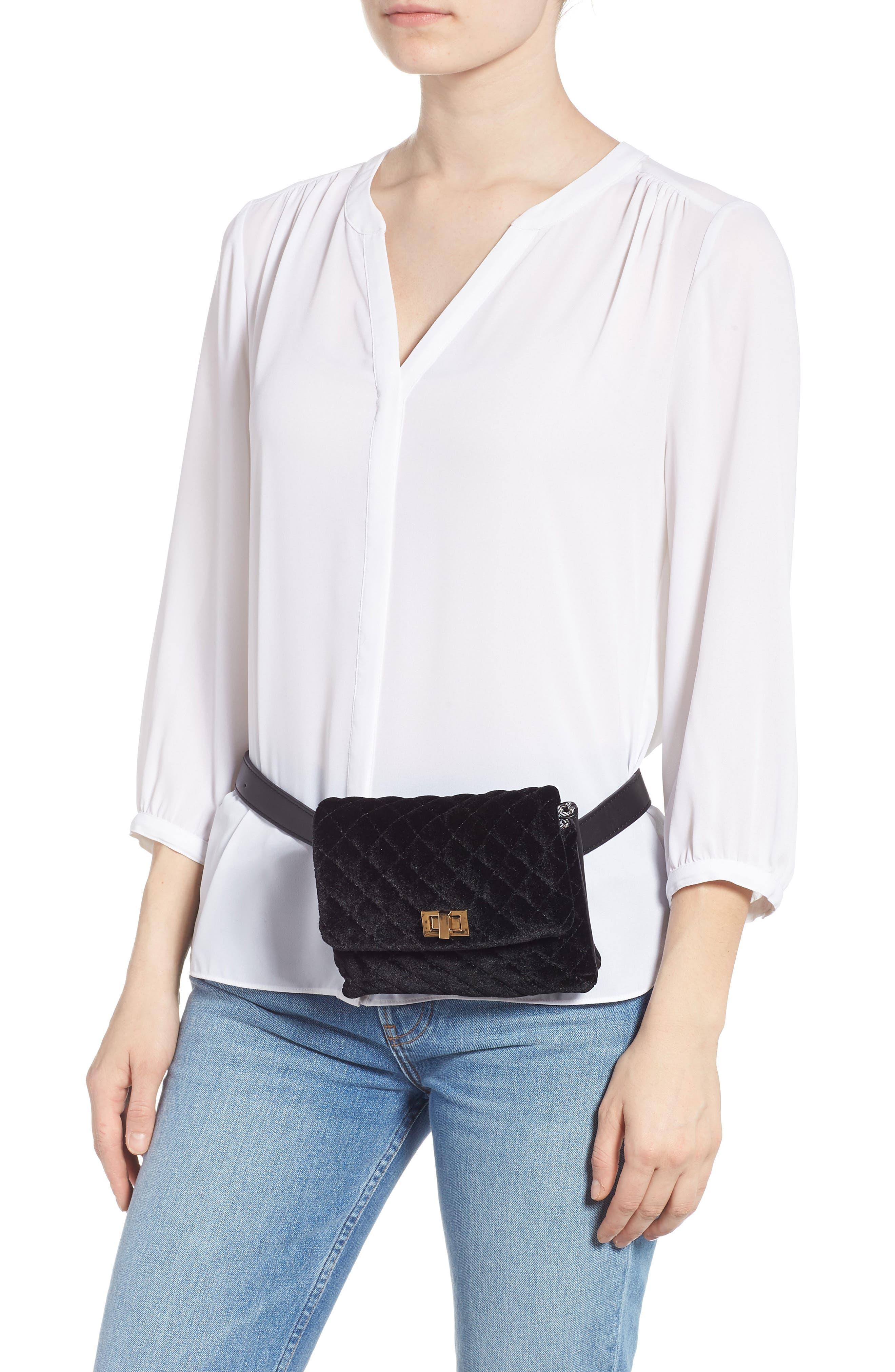 Mali + Lili Nikki Quilted Velvet Belt Bag,                             Alternate thumbnail 2, color,                             BLACK