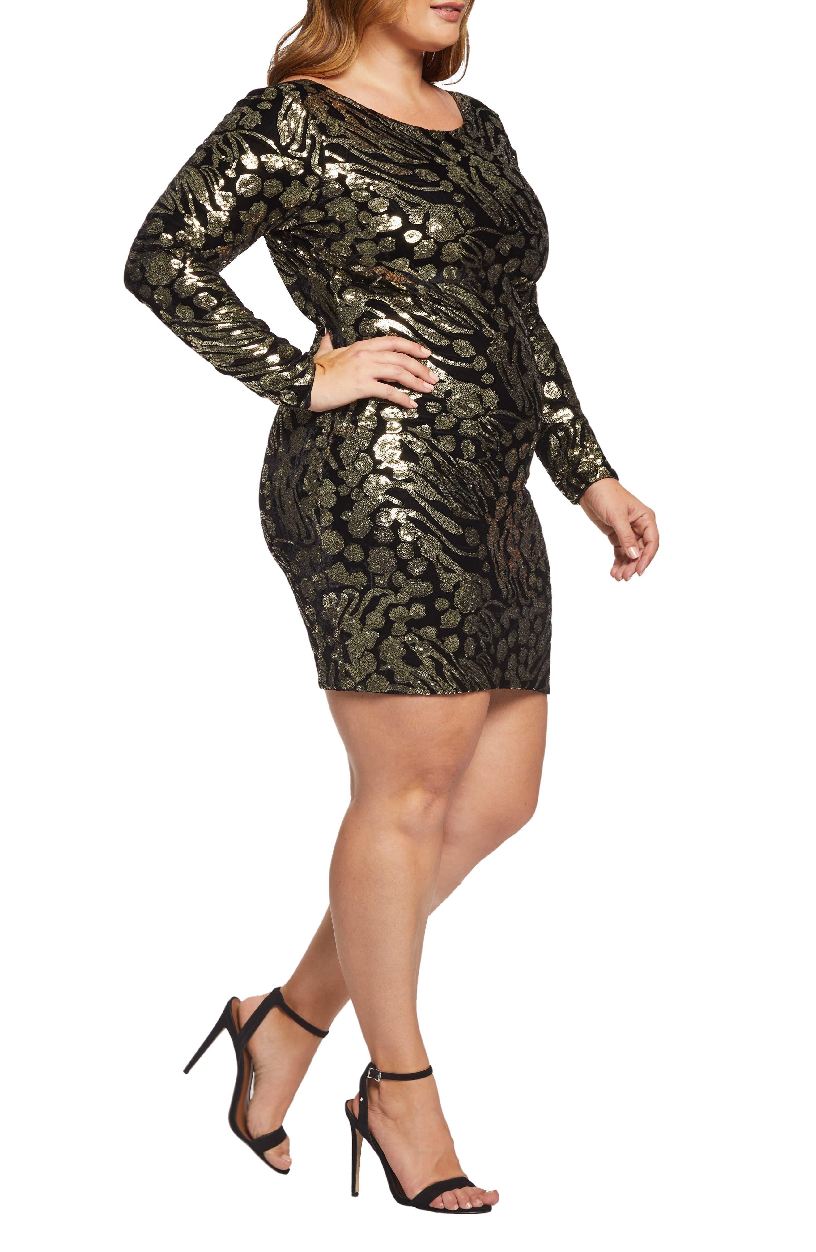 Lola Sequin & Velvet Minidress,                             Alternate thumbnail 3, color,                             BLACK/ GOLD