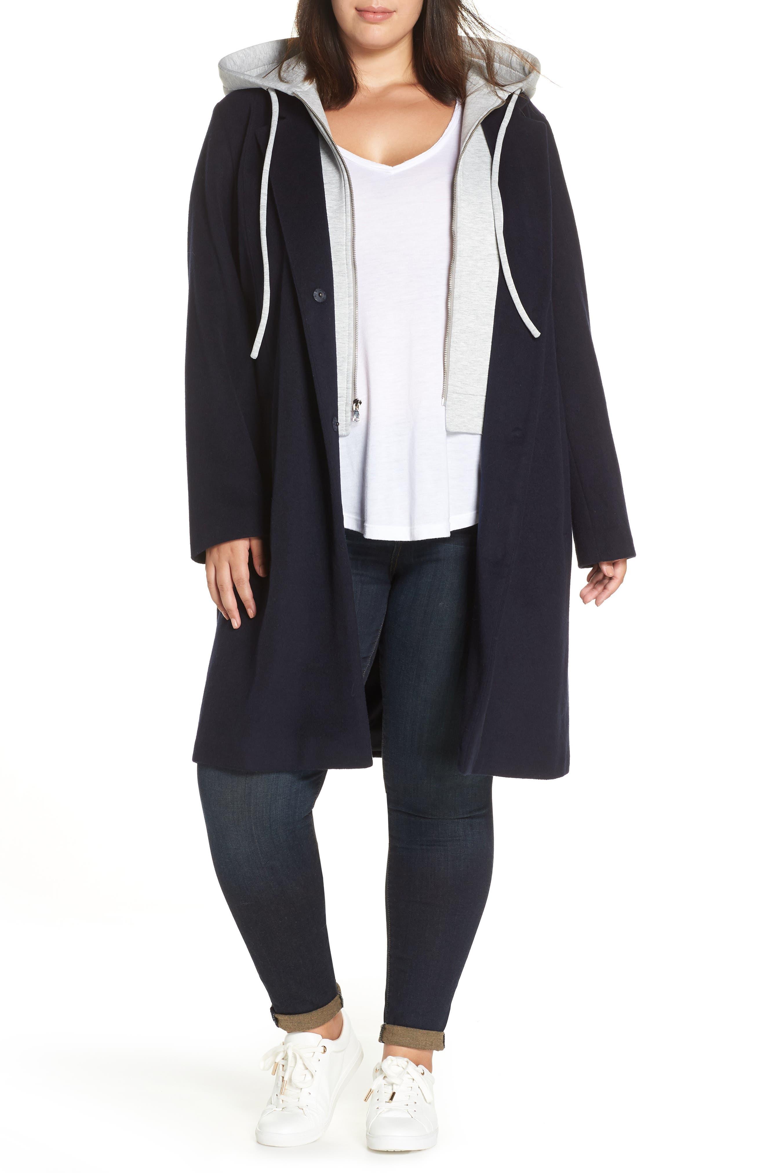 Hoodie Insert Long Wool Coat,                         Main,                         color, NAVY