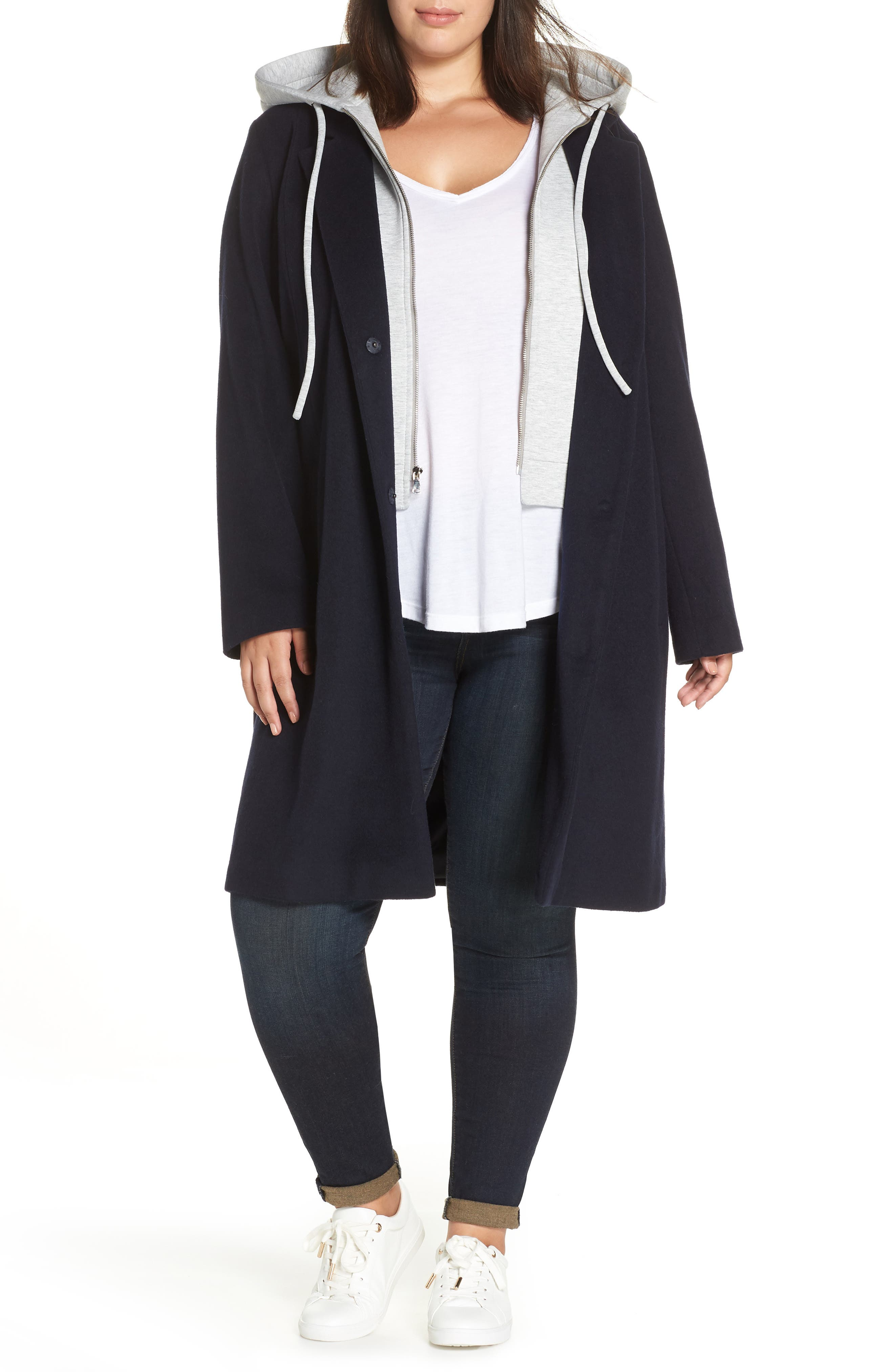 Hoodie Insert Long Wool Coat,                         Main,                         color, 410