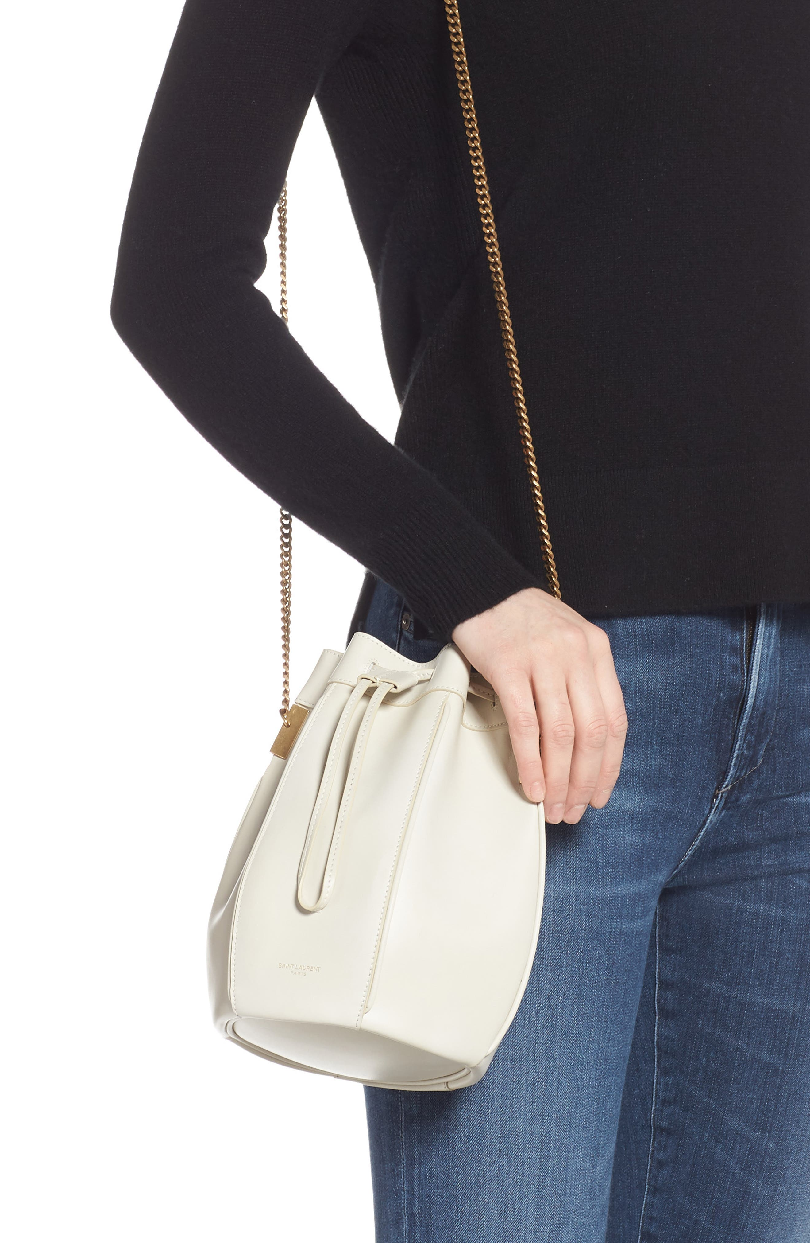 Small Talitha Leather Bucket Bag,                             Alternate thumbnail 2, color,                             CREMASOFT