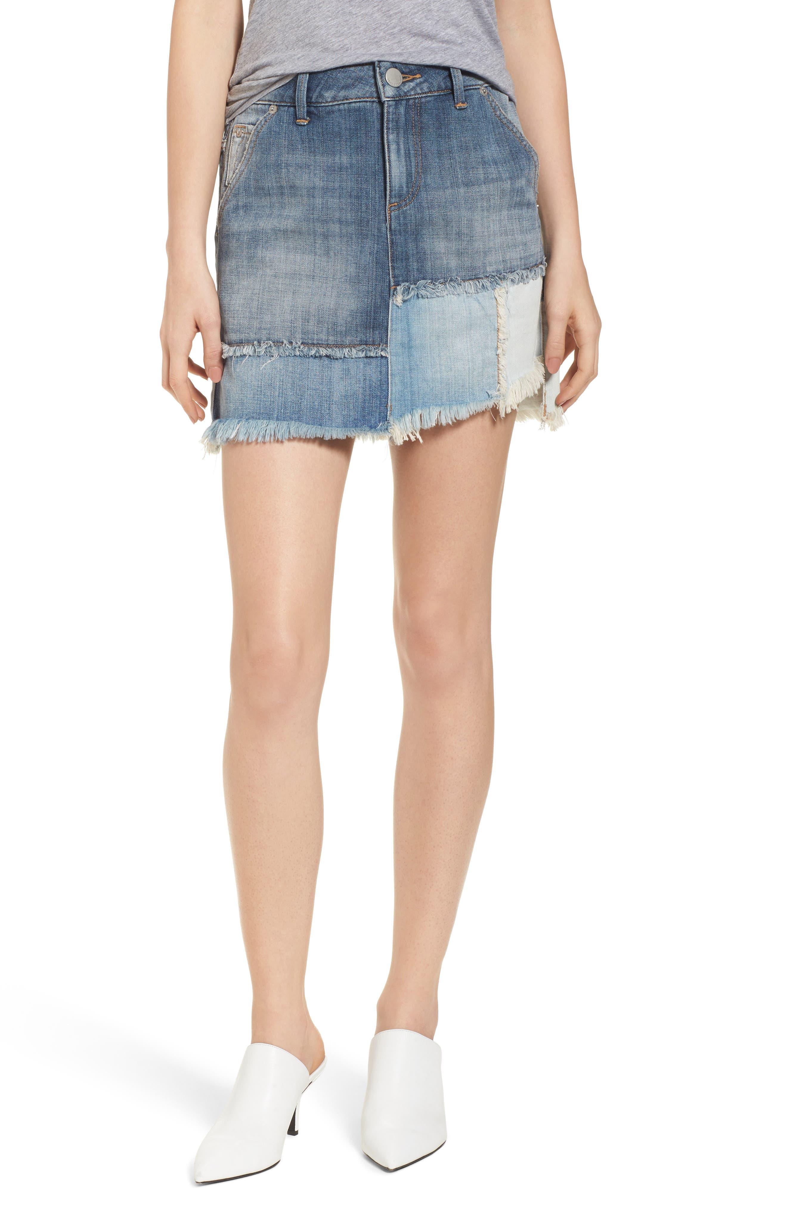 Patchwork Denim Miniskirt,                             Main thumbnail 1, color,                             401