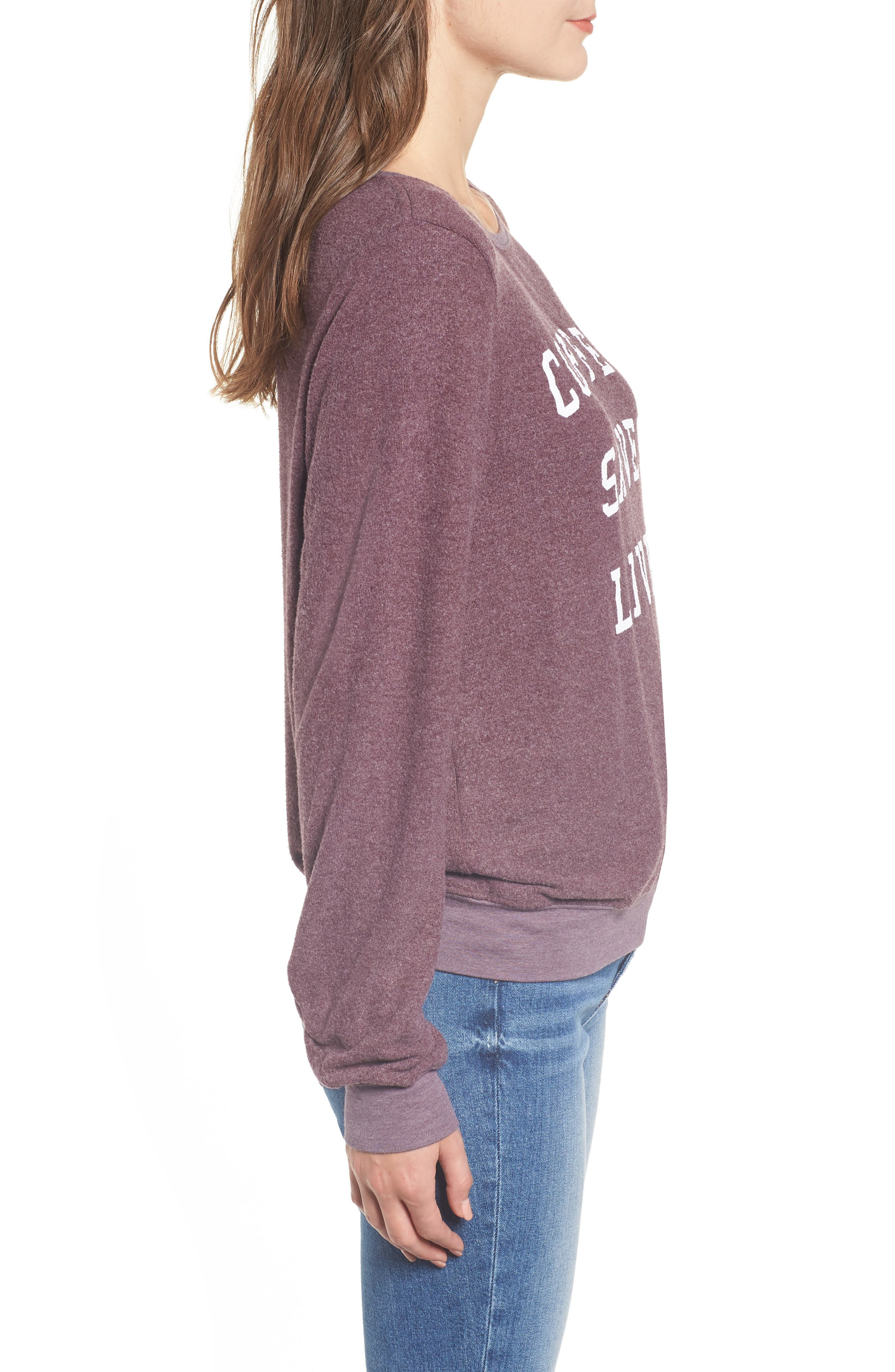 Coffee Saves Lives Baggy Beach Jumper Pullover,                             Alternate thumbnail 3, color,                             CRUSHED BERRY