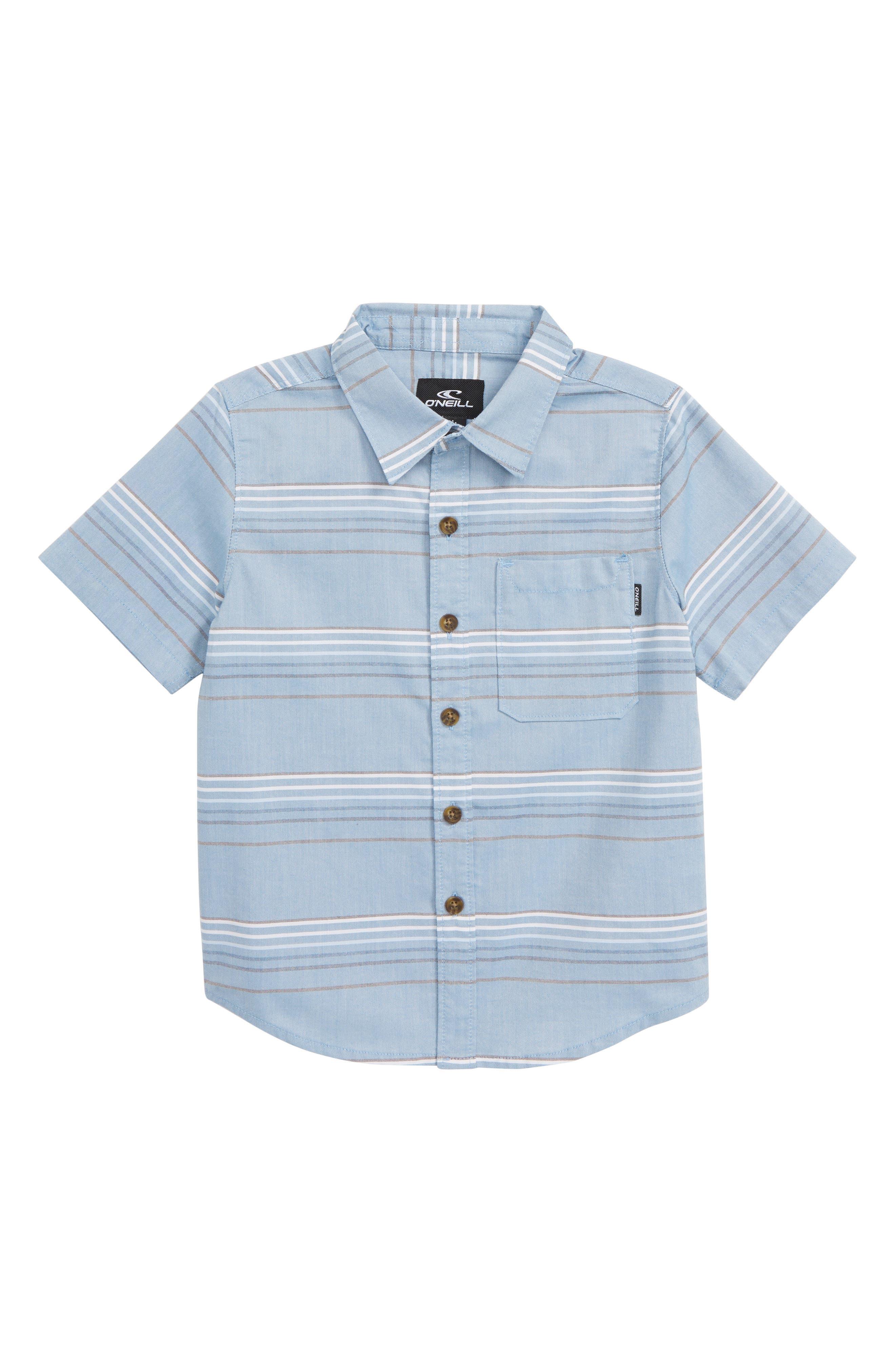 Boys ONeill Dexter Stripe Woven Shirt Size S (4)  Blue