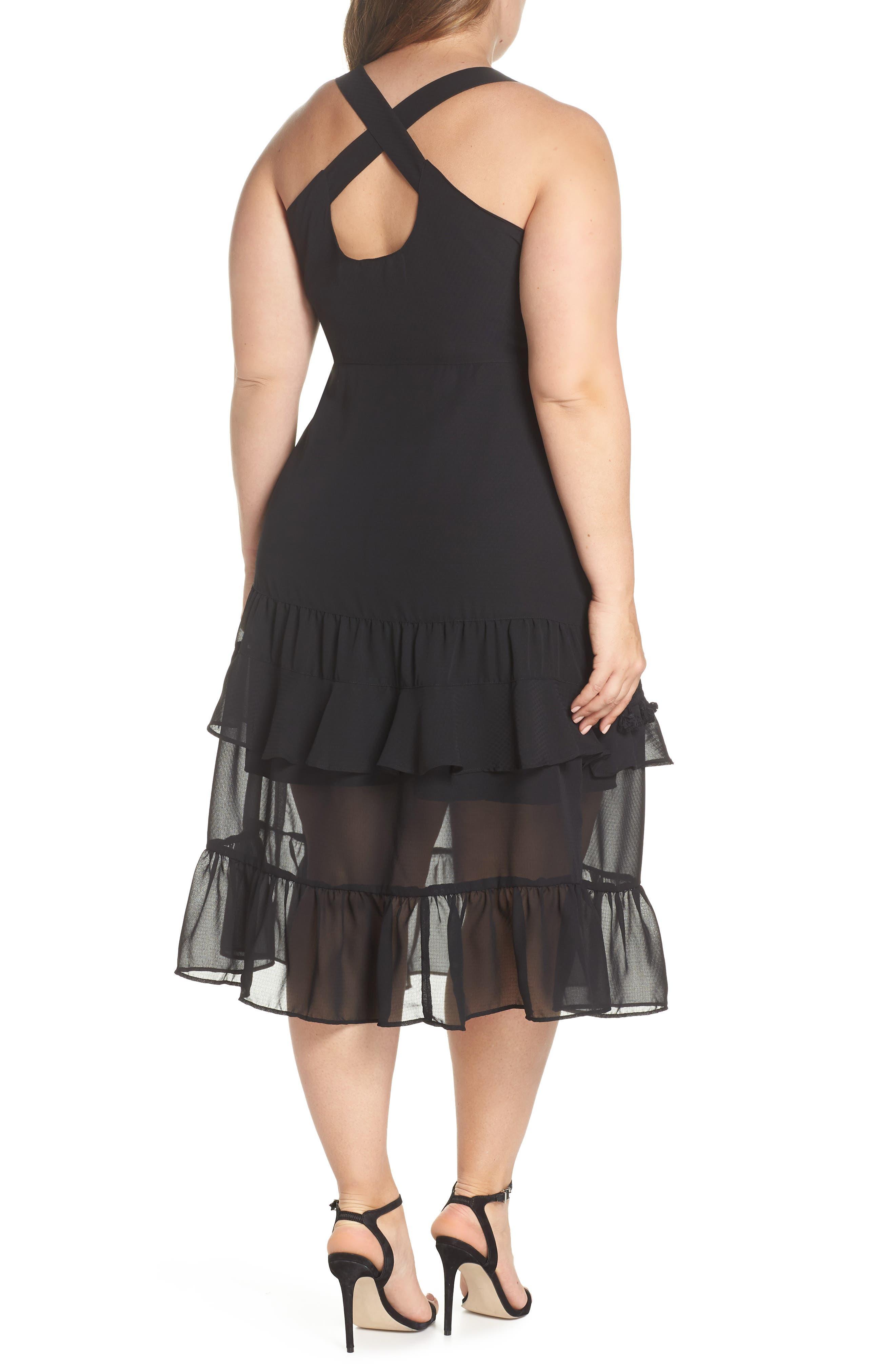 Tassel Trim Sheer Hem Dress,                             Alternate thumbnail 2, color,                             001