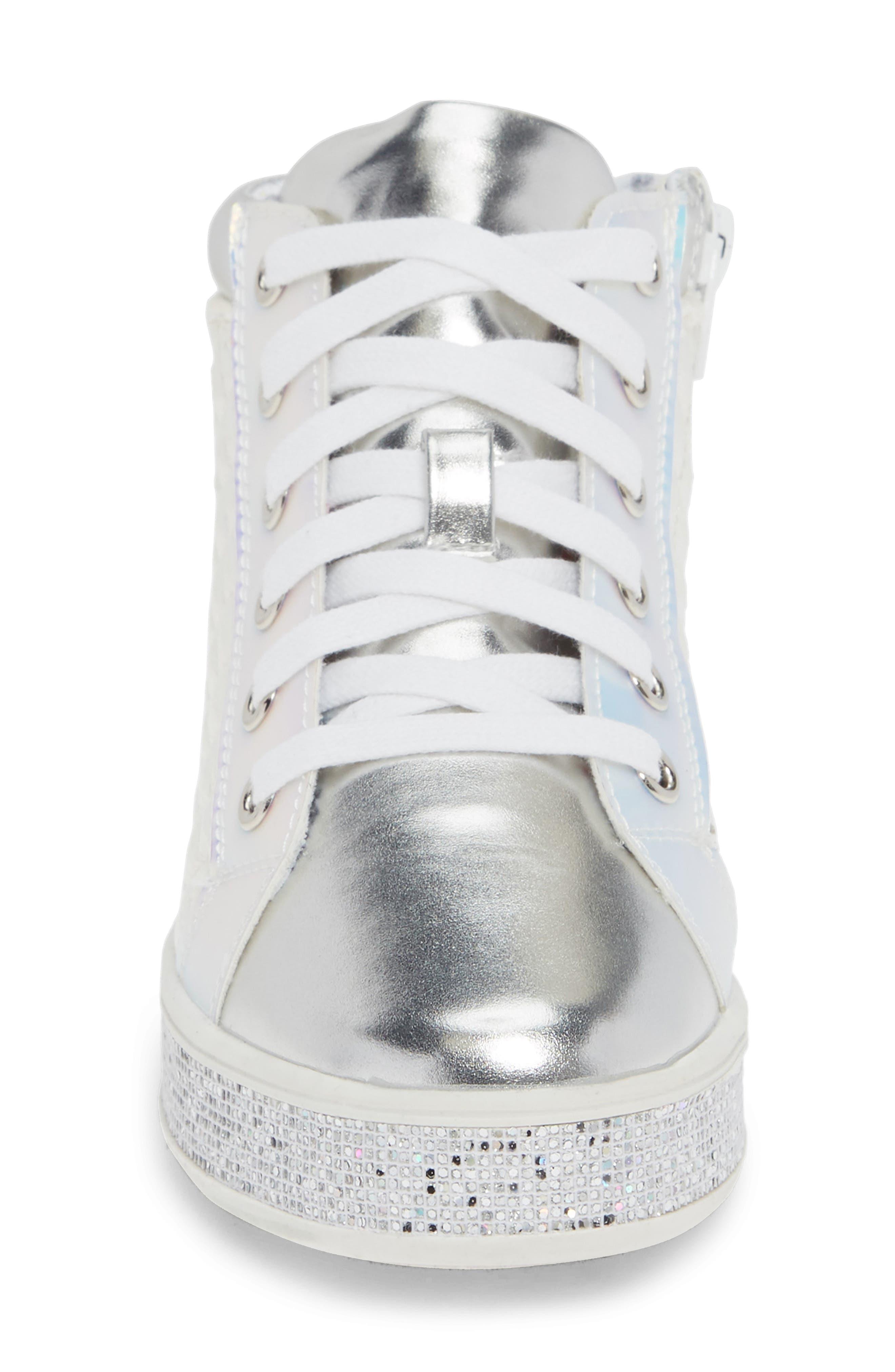Glittery High Top Sneaker,                             Alternate thumbnail 4, color,                             WHITE