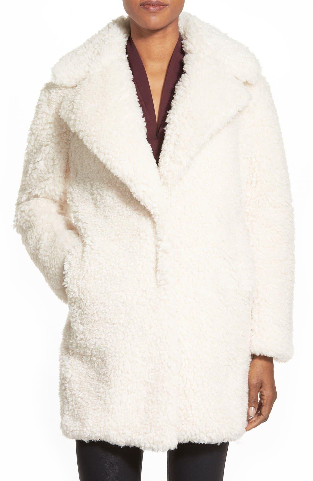 'Teddy Bear' Notch Collar Reversible Faux Fur Coat,                             Main thumbnail 5, color,