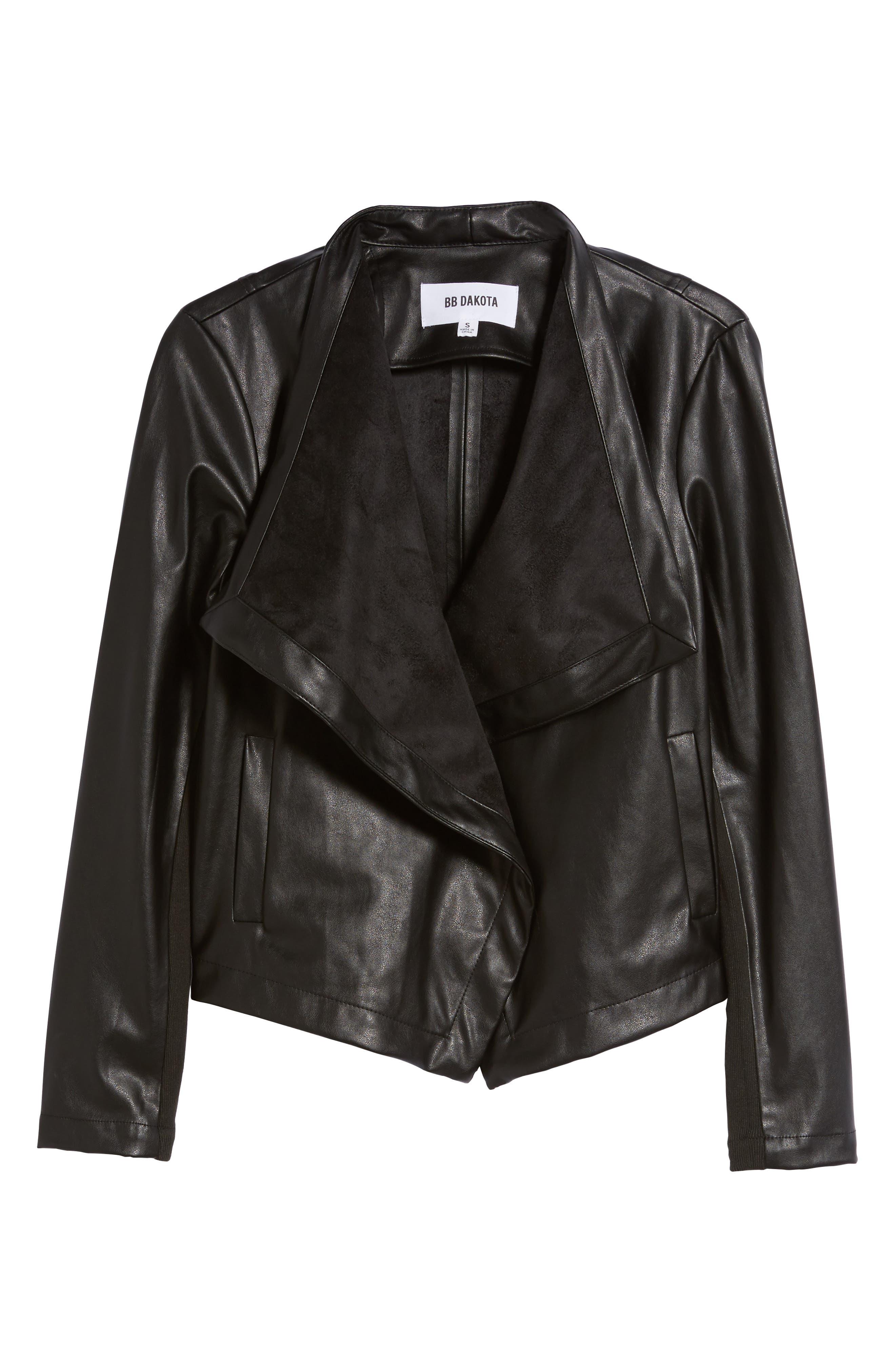 'Peppin' Drape Front Faux Leather Jacket,                             Alternate thumbnail 39, color,