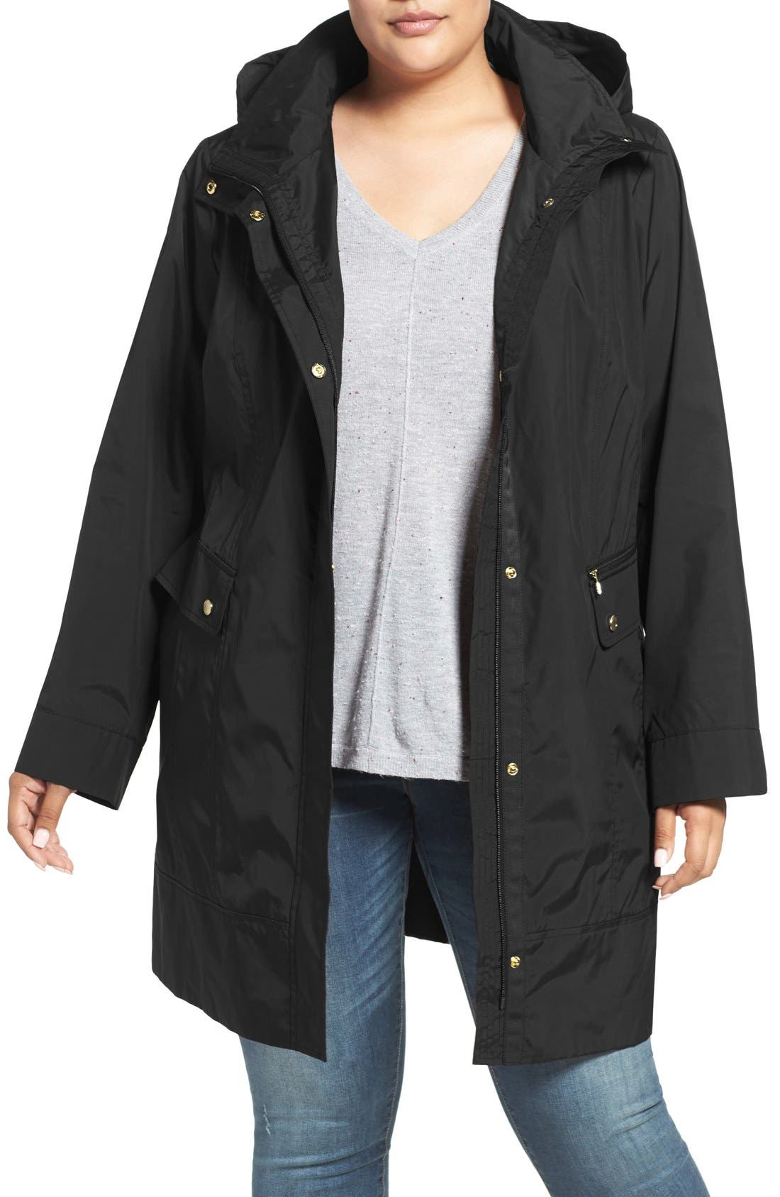 Cole Haan Water Resistant Rain Jacket,                             Main thumbnail 1, color,                             001