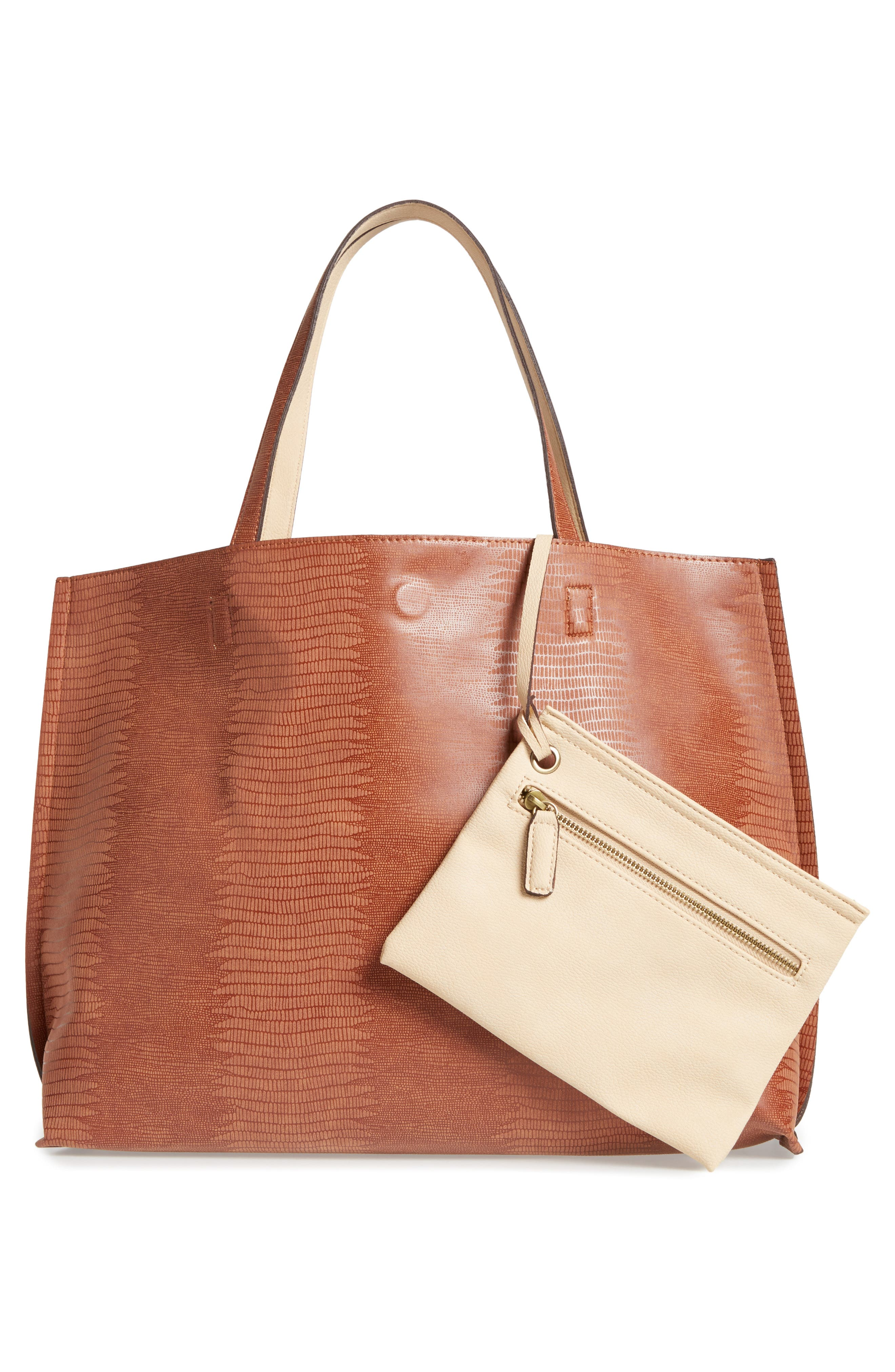 Reversible Faux Leather Tote,                             Alternate thumbnail 25, color,