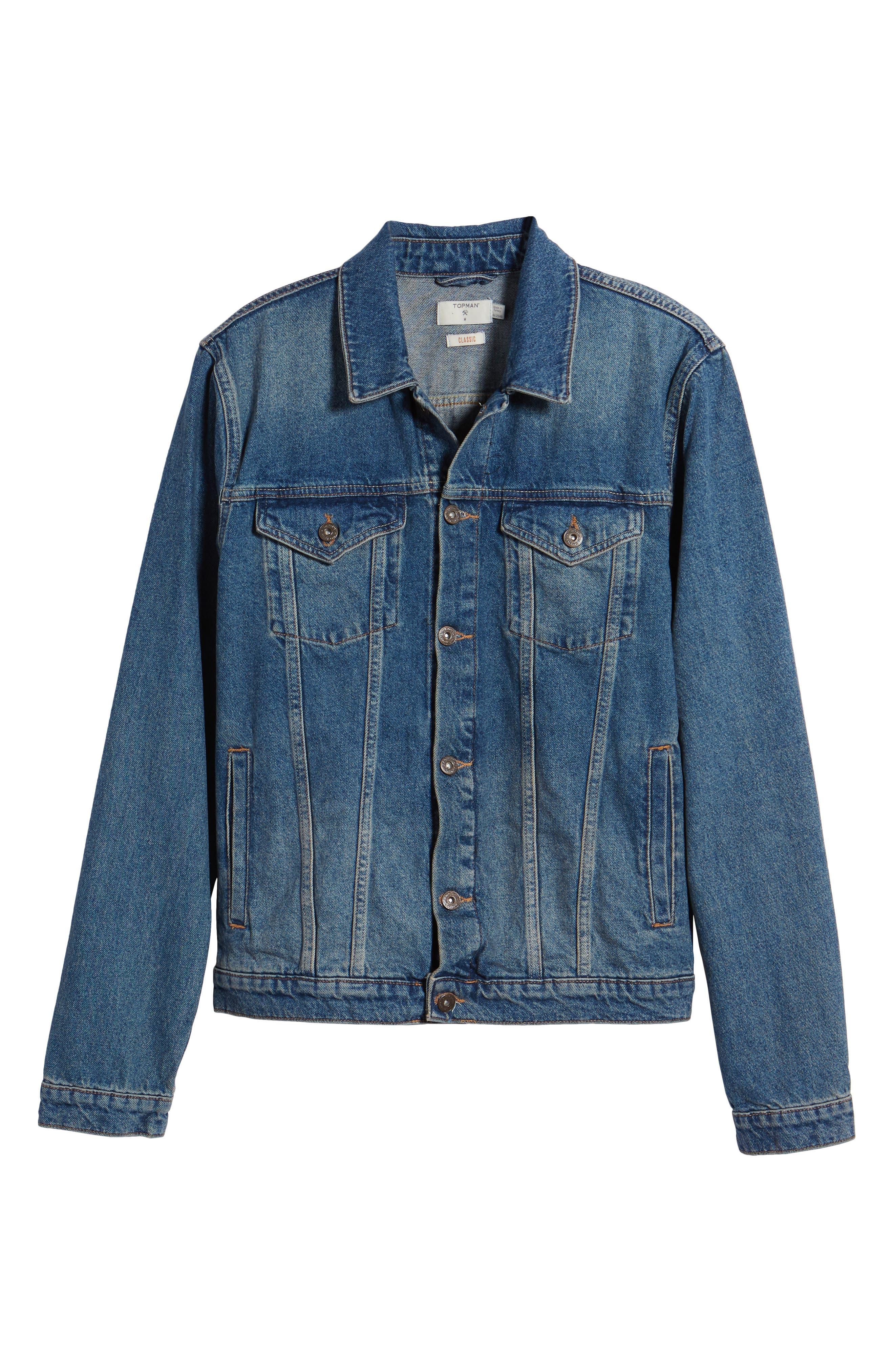 Mid Wash Denim Jacket,                             Alternate thumbnail 6, color,                             420