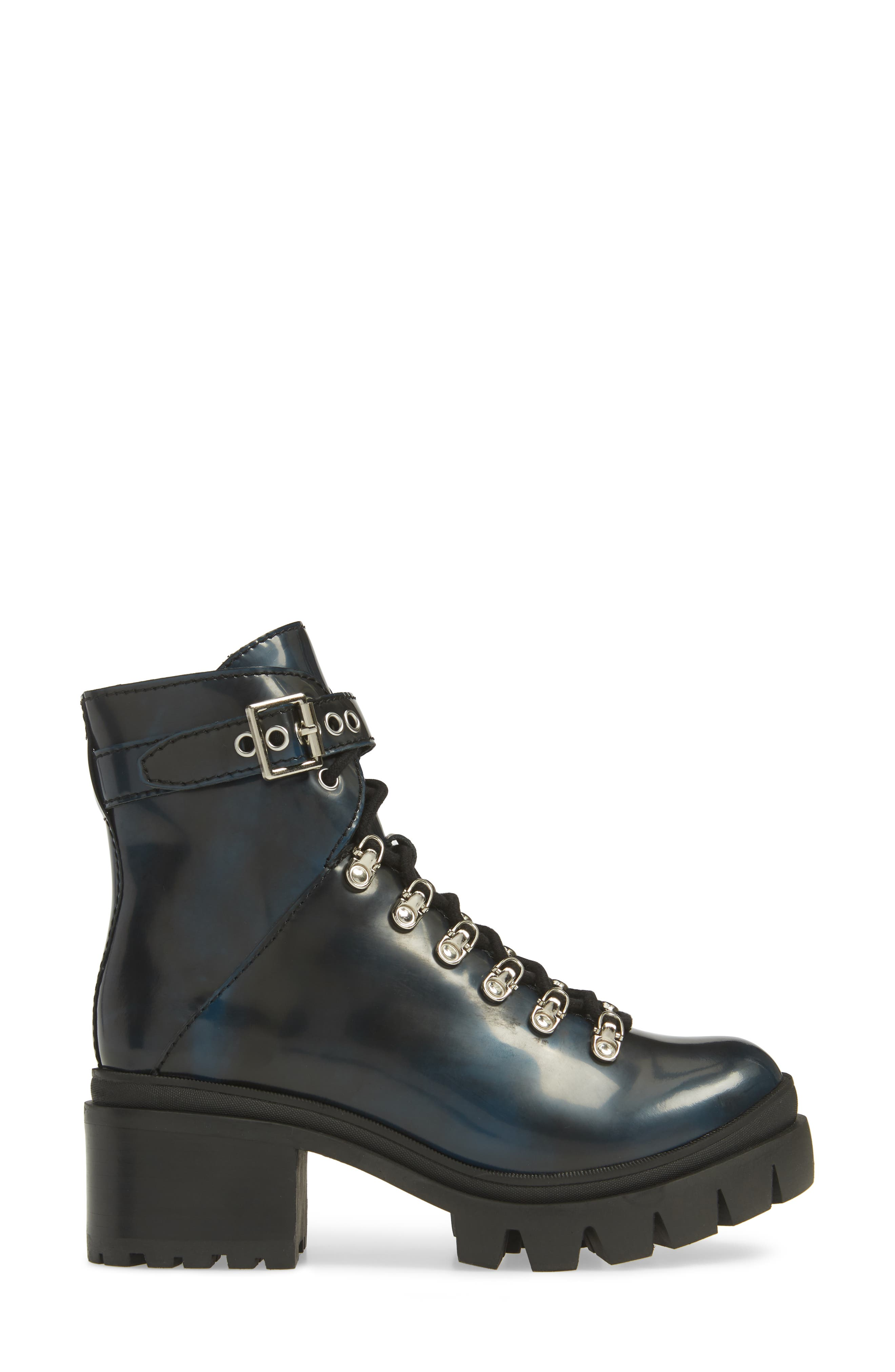 Czech Lace-Up Boot,                             Alternate thumbnail 3, color,                             NAVY LEATHER