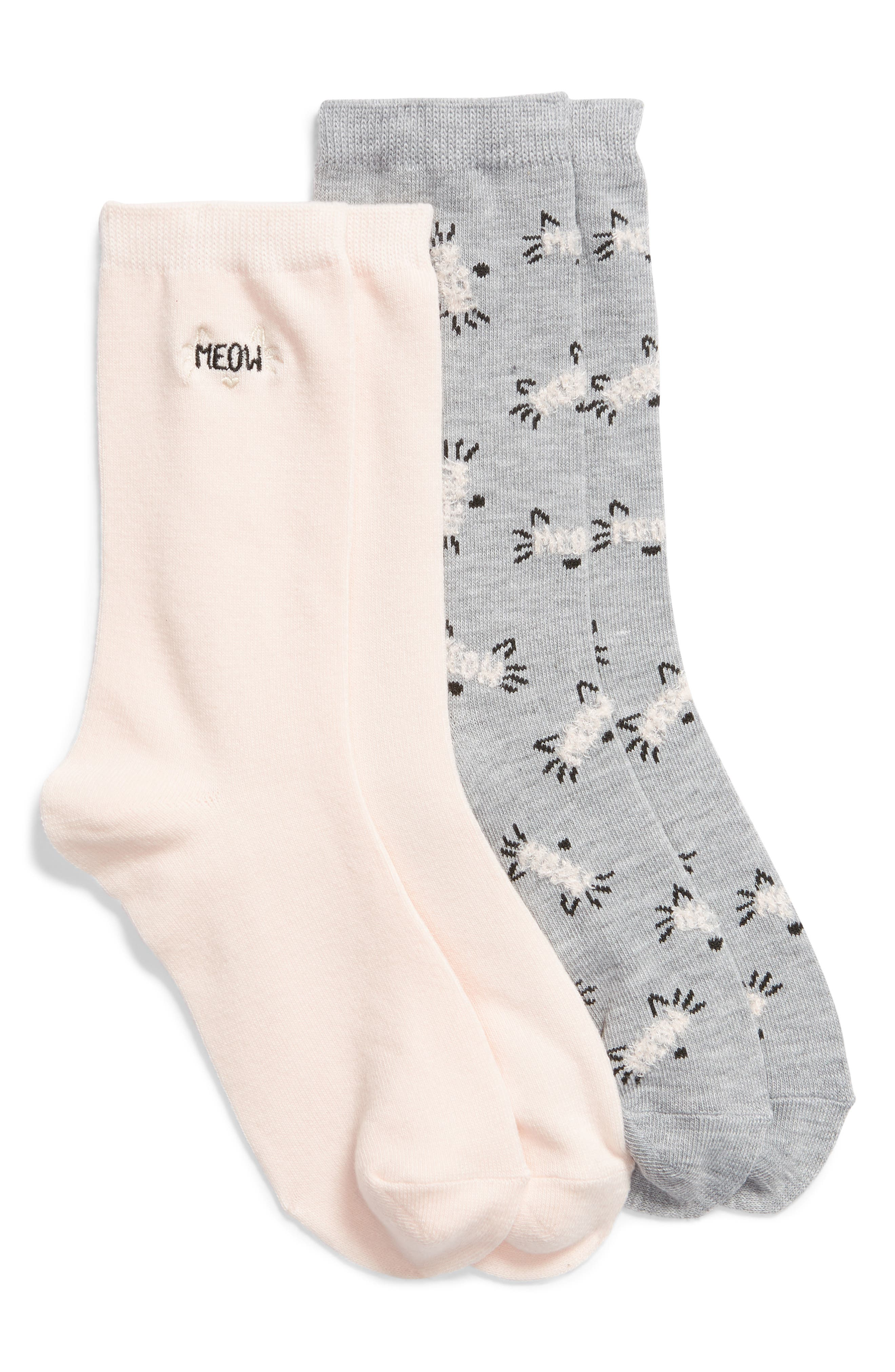 2-Pack Pattern Crew Socks,                             Main thumbnail 1, color,                             PINK MEOW
