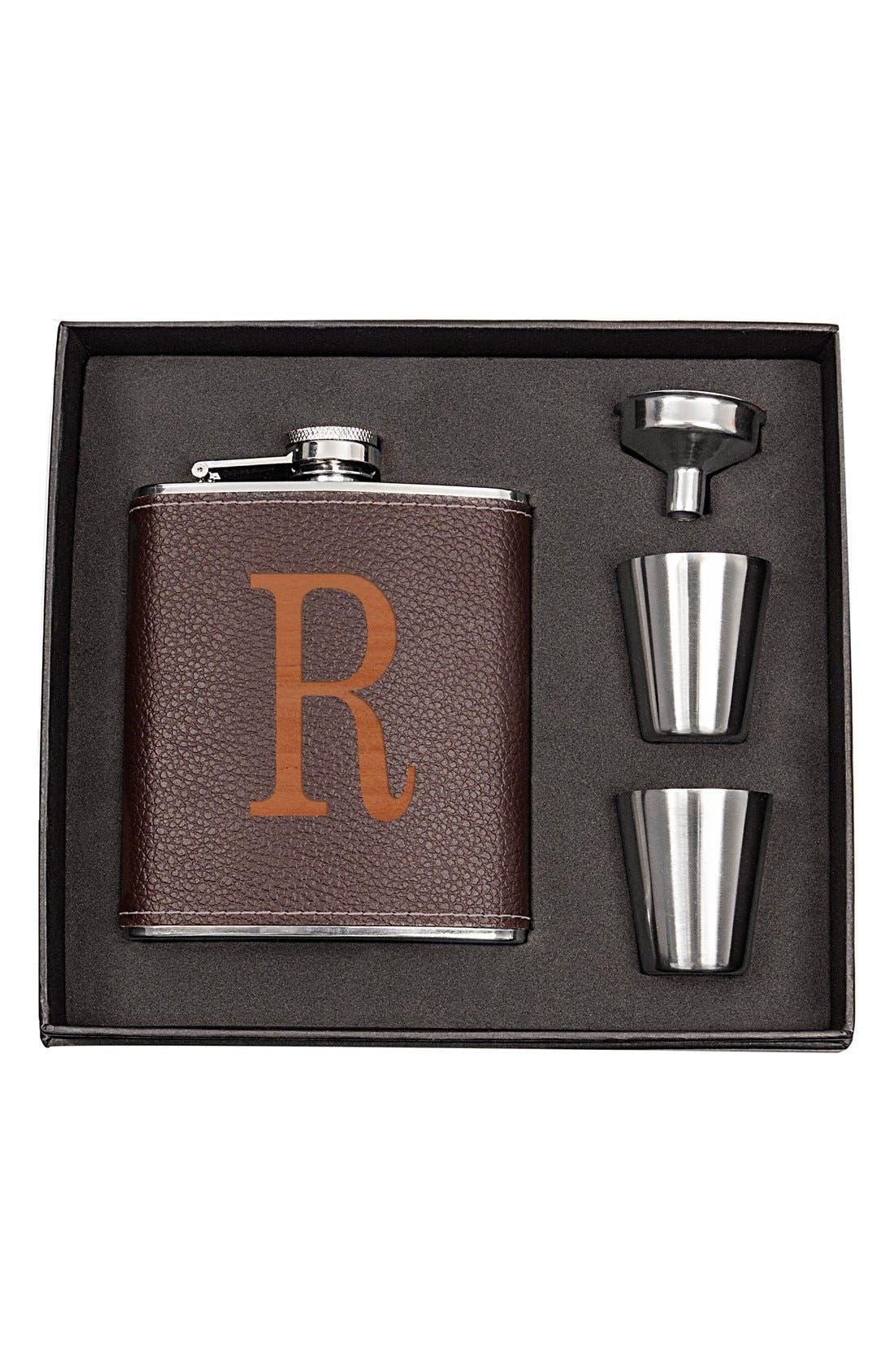 Monogram Flask Set,                         Main,                         color, BROWN - R
