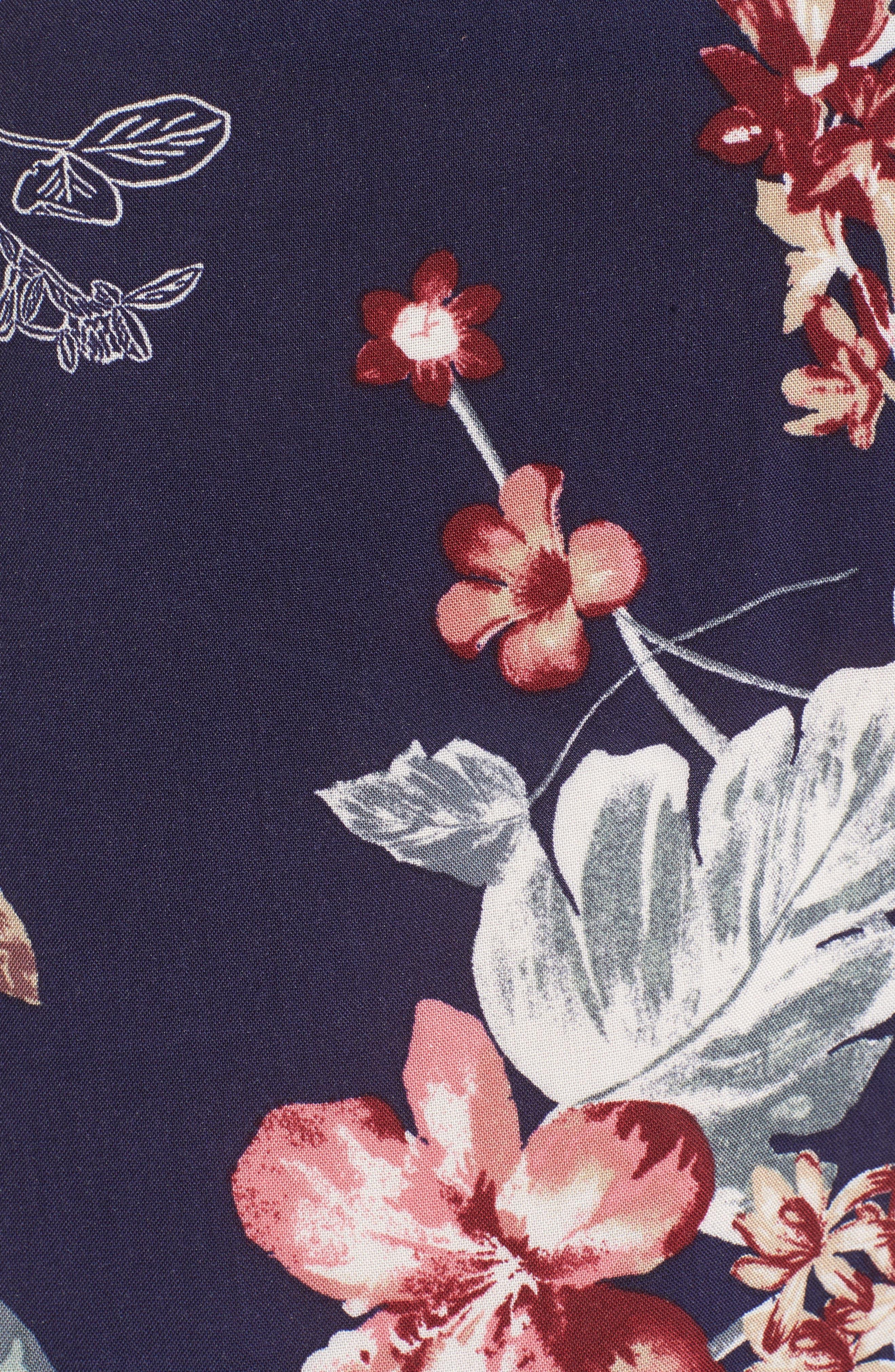 Ruffle Floral High Waist Shorts,                             Alternate thumbnail 5, color,
