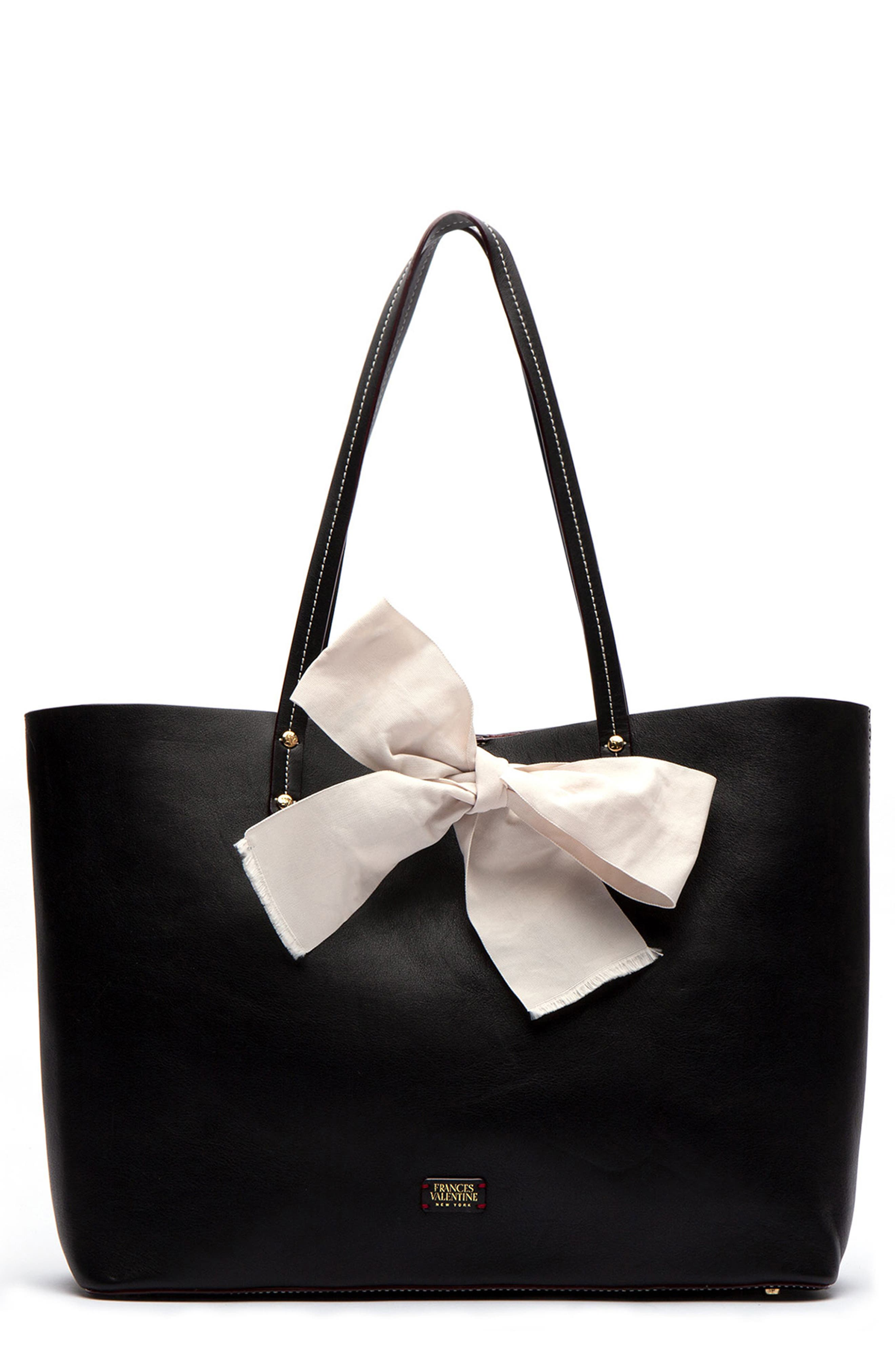 Trixie Leather Tote,                         Main,                         color, BLACK/ OYSTER